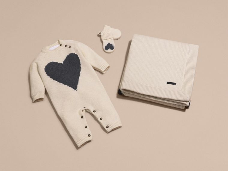 Heart Intarsia Cashmere Jumpsuit in Natural White | Burberry - cell image 4