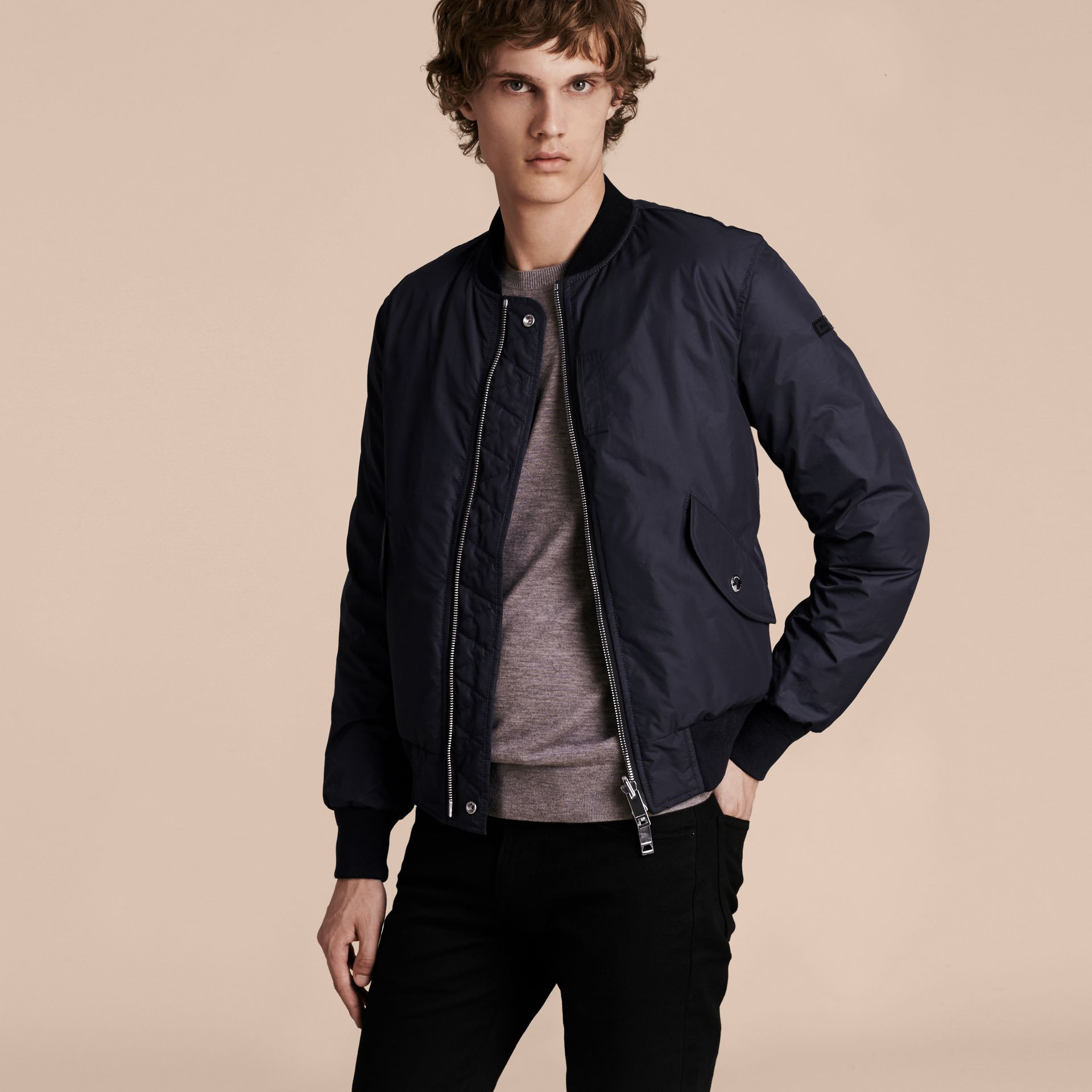 Navy Reversible Down-filled Bomber Jacket - gallery image 7