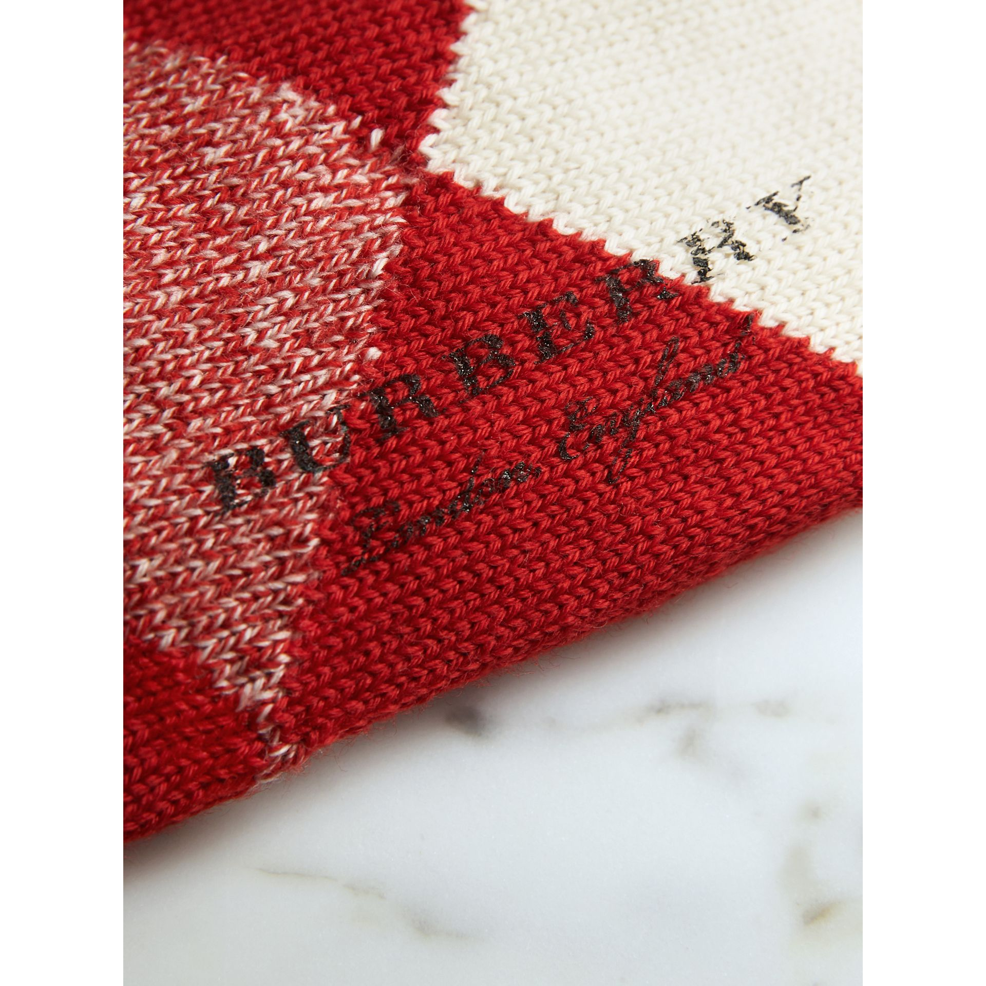Argyle Knitted Wool Socks in Bright Red | Burberry - gallery image 2