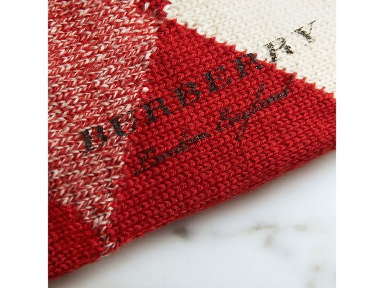 Argyle Knitted Wool Socks in Bright Red | Burberry - cell image 1