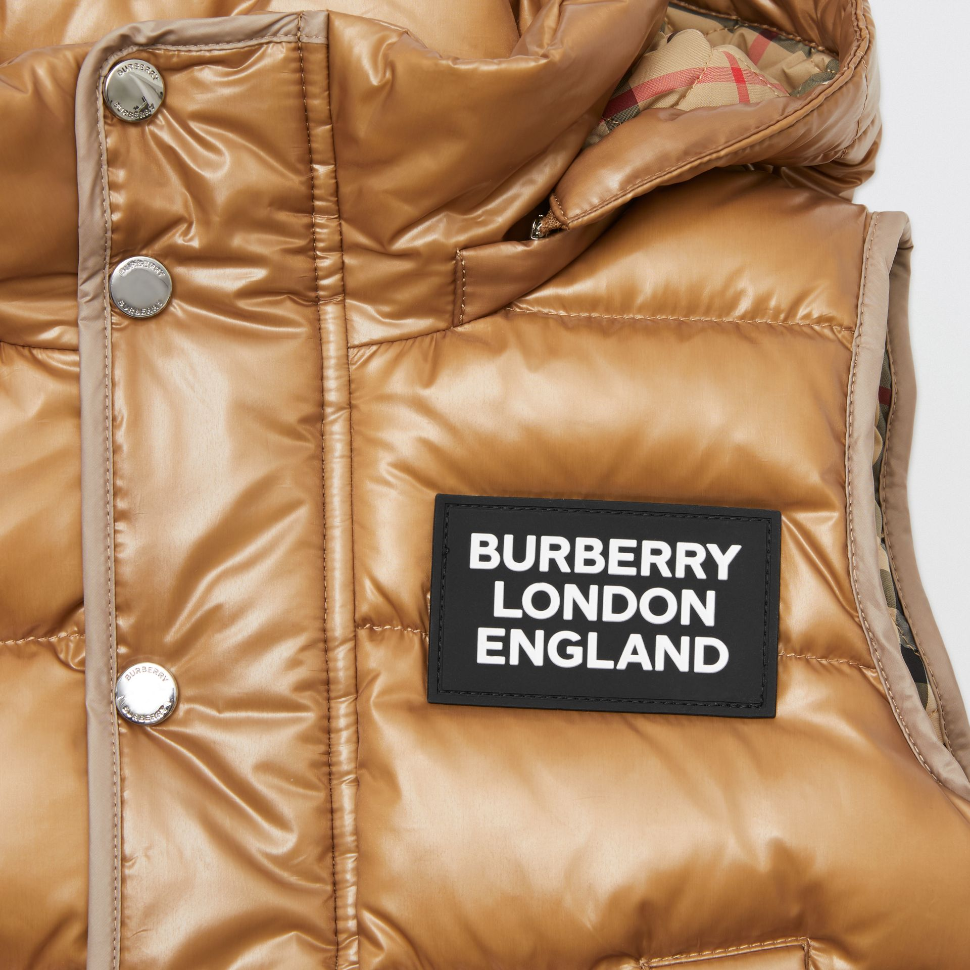 Detachable Hood Nylon Puffer Gilet in Camel | Burberry - gallery image 1