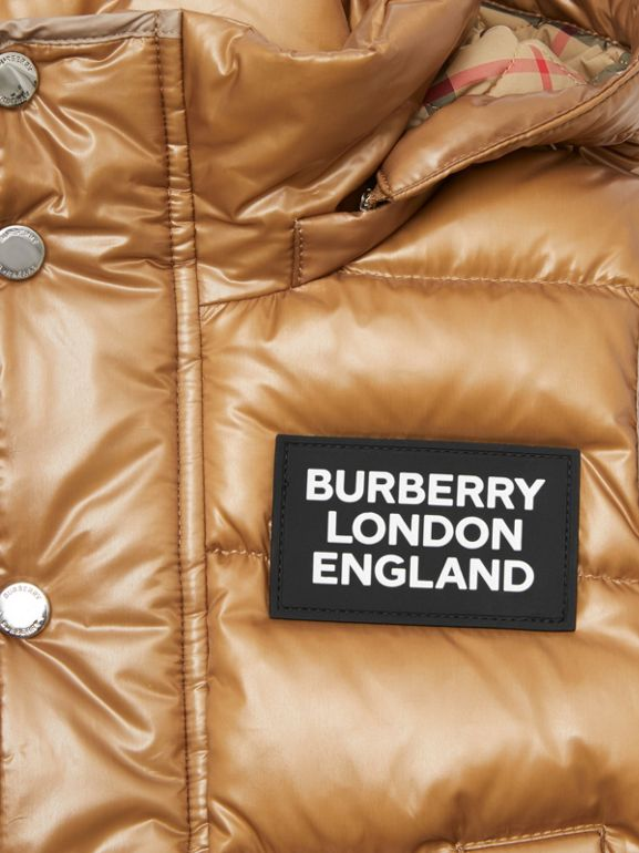 Detachable Hood Nylon Puffer Gilet in Camel | Burberry - cell image 1