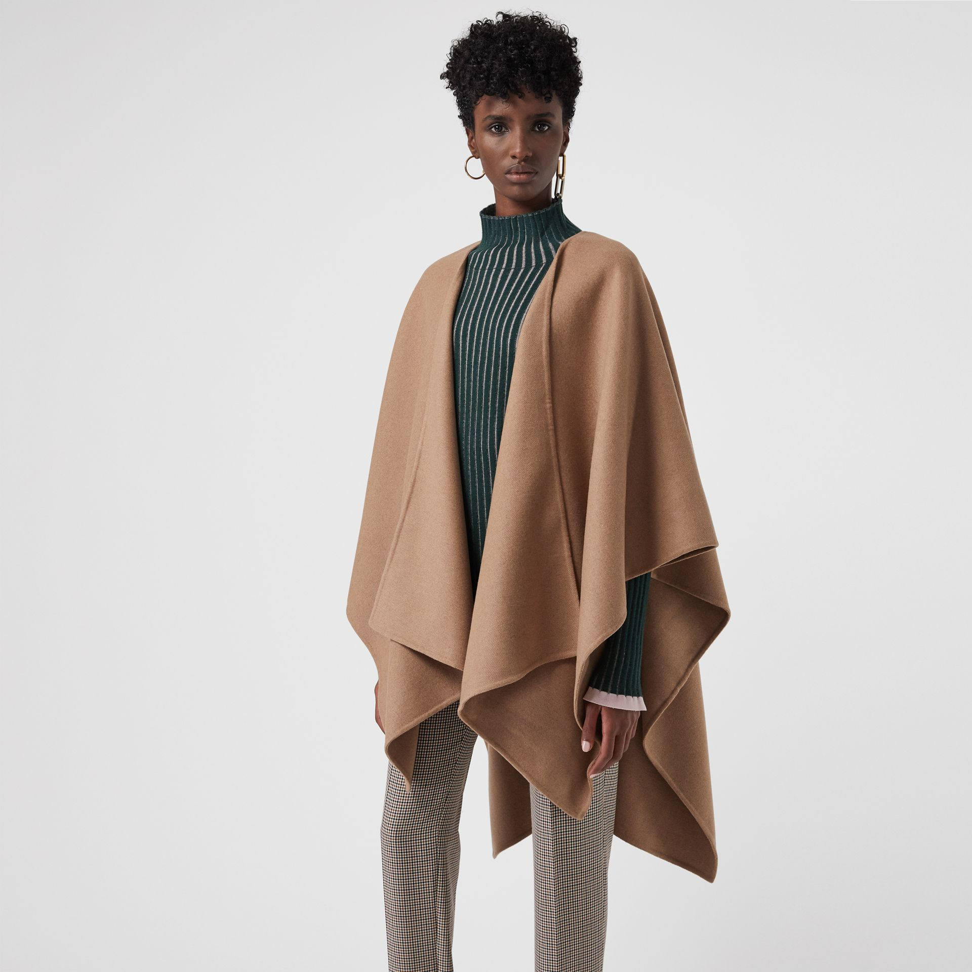 Embroidered Skyline Cashmere Poncho in Camel - Women | Burberry Australia - gallery image 4
