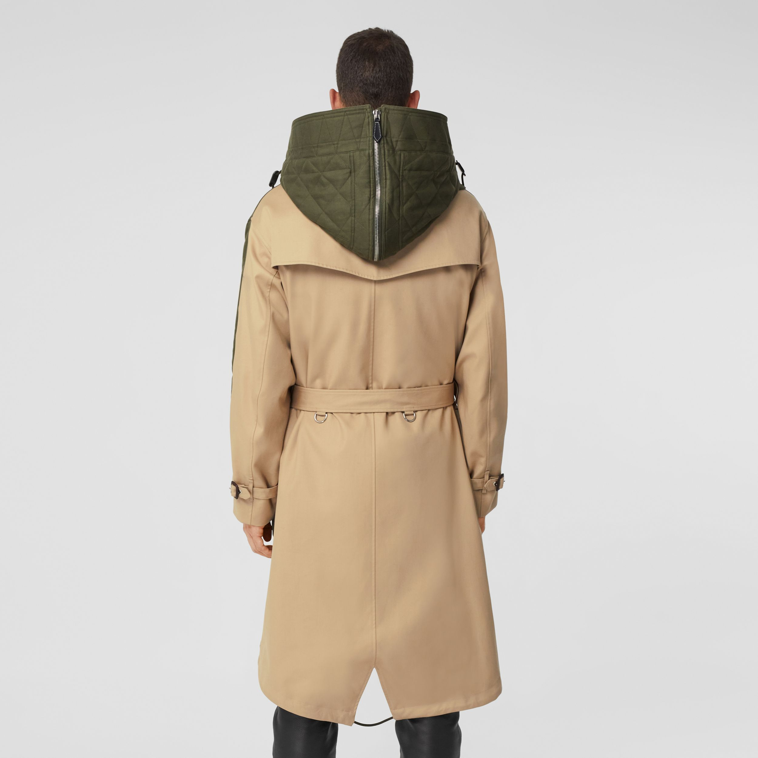Detachable Hood Quilted Ramie Cotton Parka in Olive Green - Men | Burberry - 3