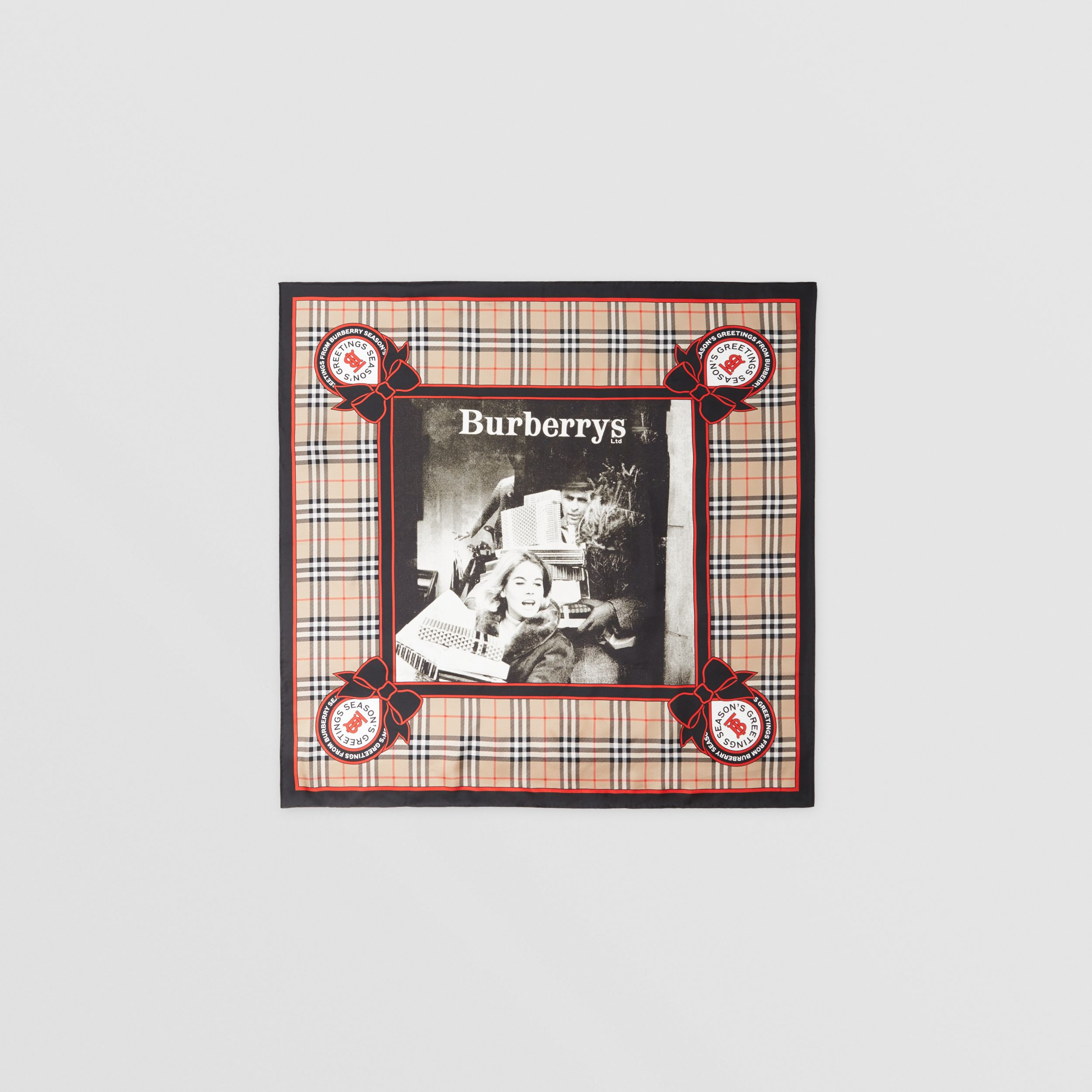 Archive Campaign Print Silk Square Scarf in Beige | Burberry - 1
