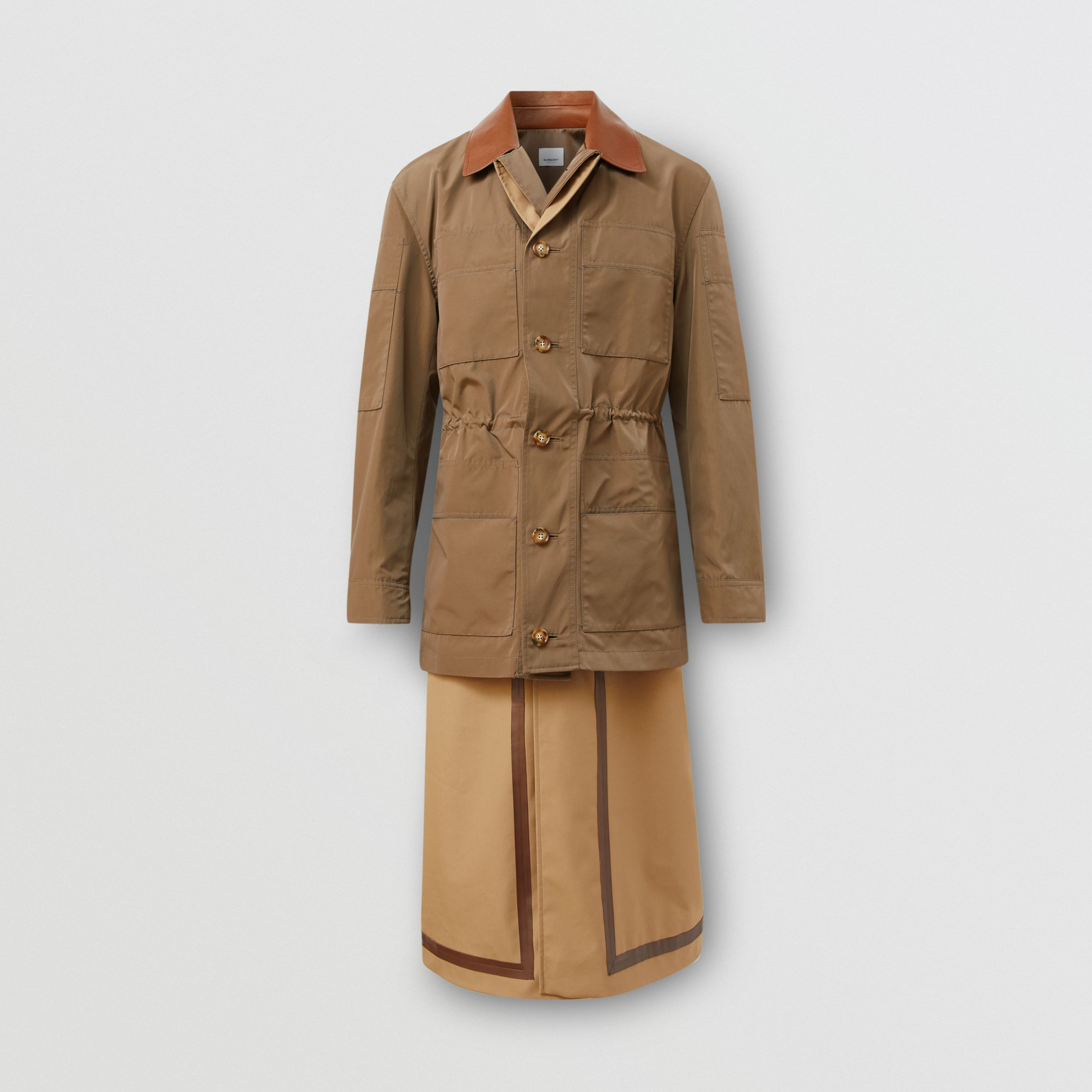 Field Jacket Detail Technical Cotton Car Coat in Dark Brown | Burberry - 4