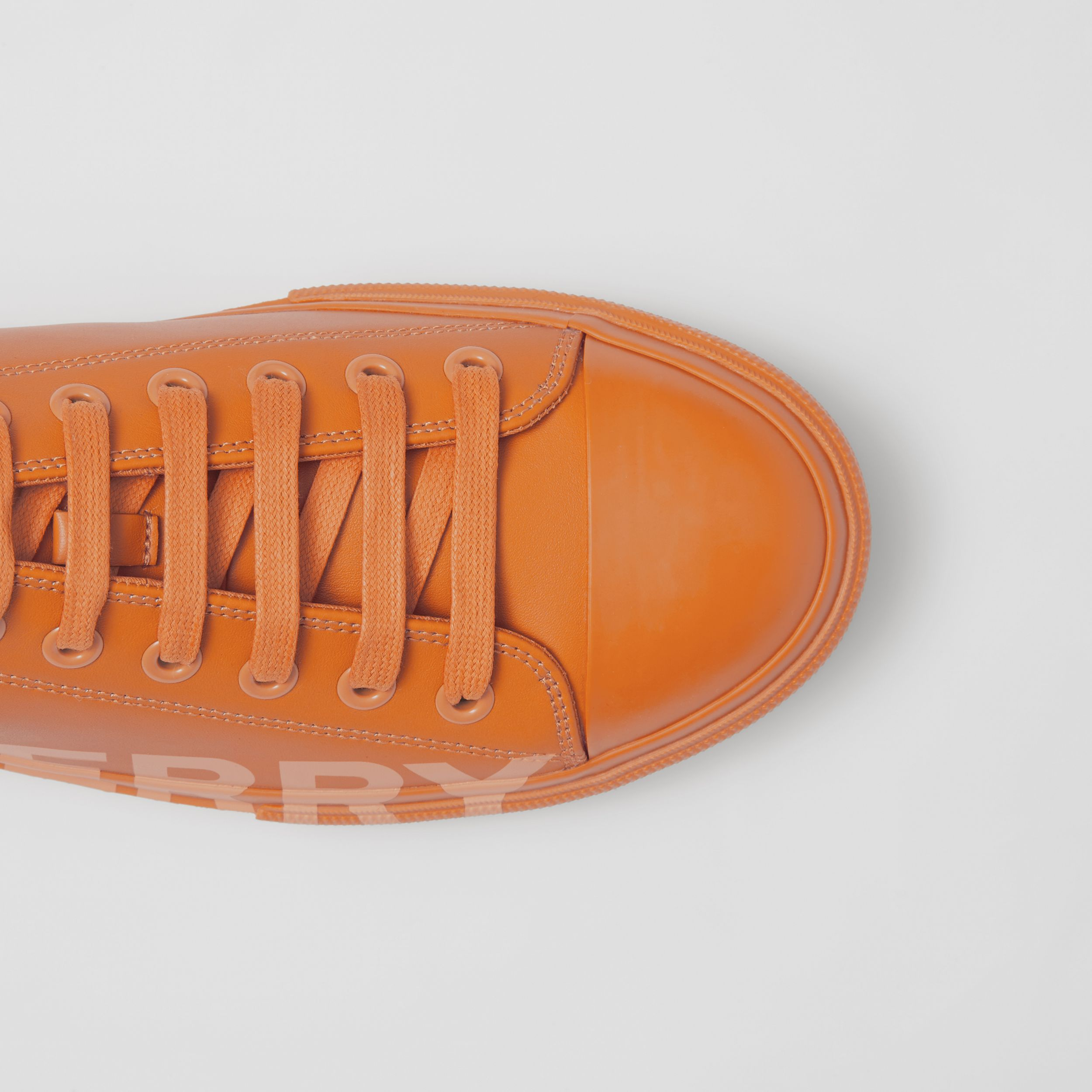 Logo Print Leather Sneakers – Online Exclusive in Deep Orange - Men | Burberry Hong Kong S.A.R. - 2
