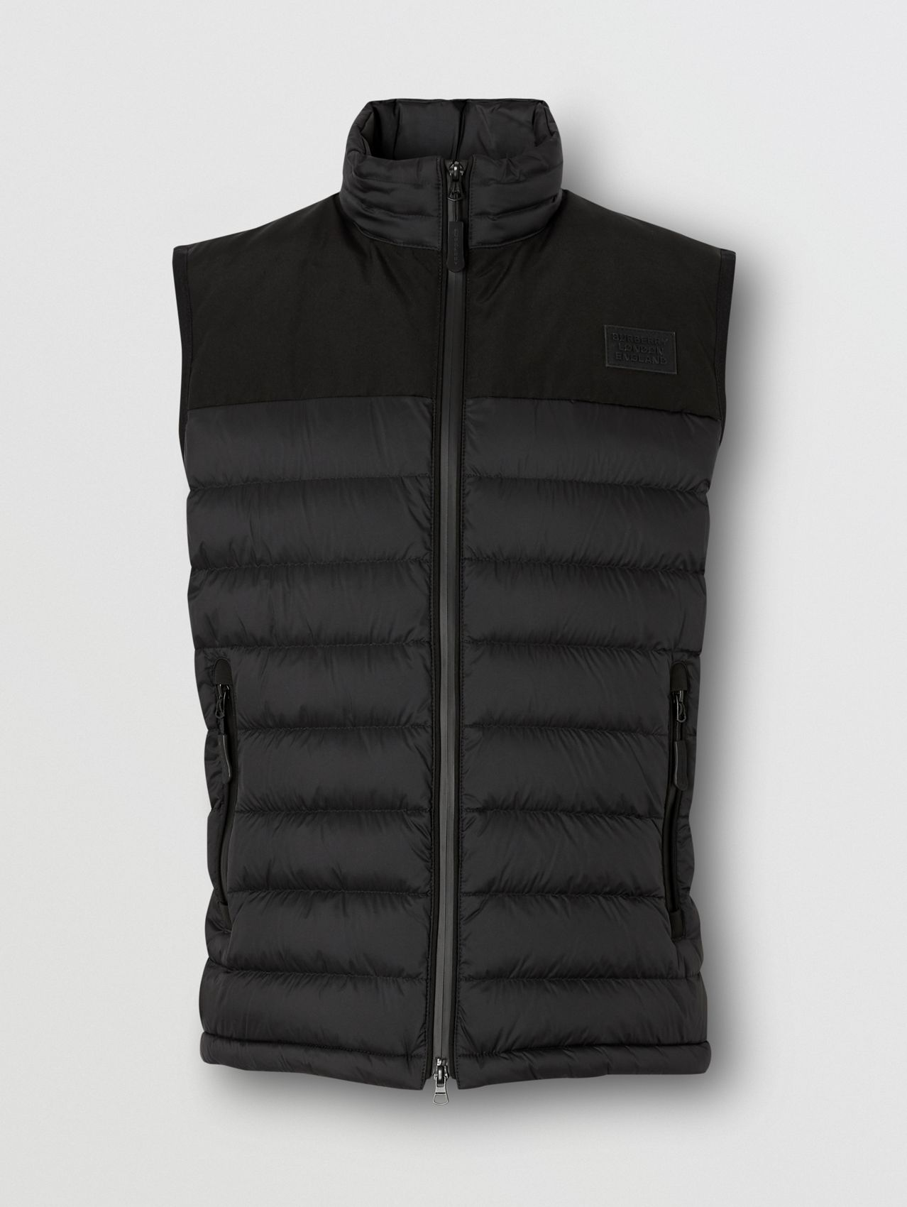 Logo Appliqué Lightweight Puffer Gilet in Black