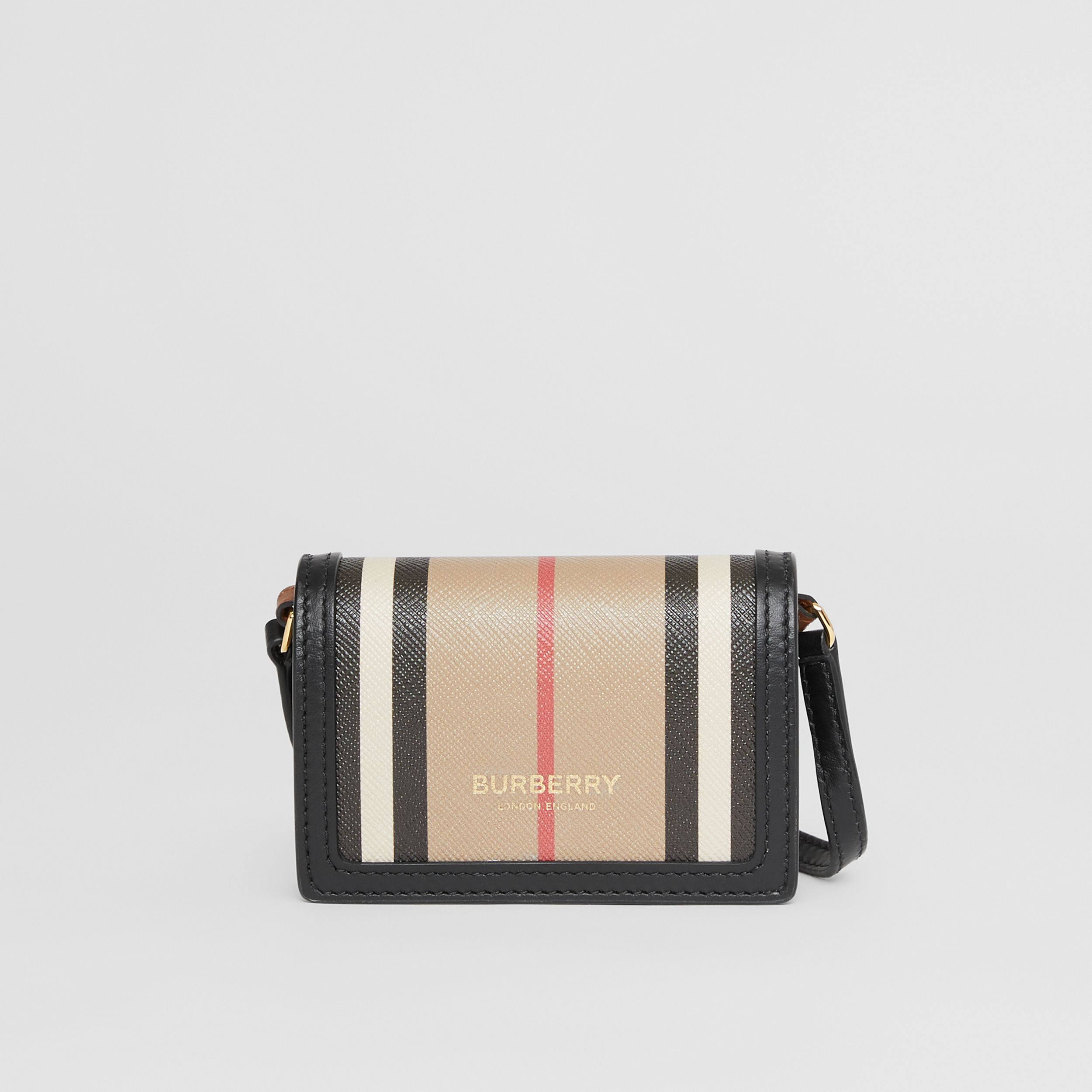 Icon Stripe E-canvas Card Case with Detachable Strap in Archive Beige - Women | Burberry - 1