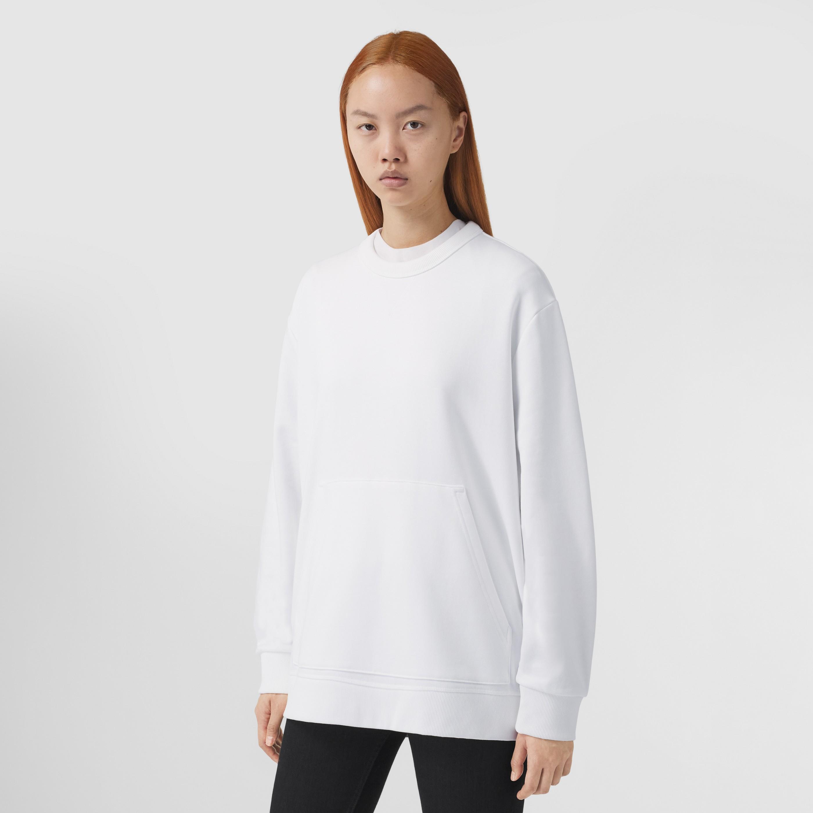 Felpa oversize in cotone con inserti Vintage check (Bianco) - Donna | Burberry - 6