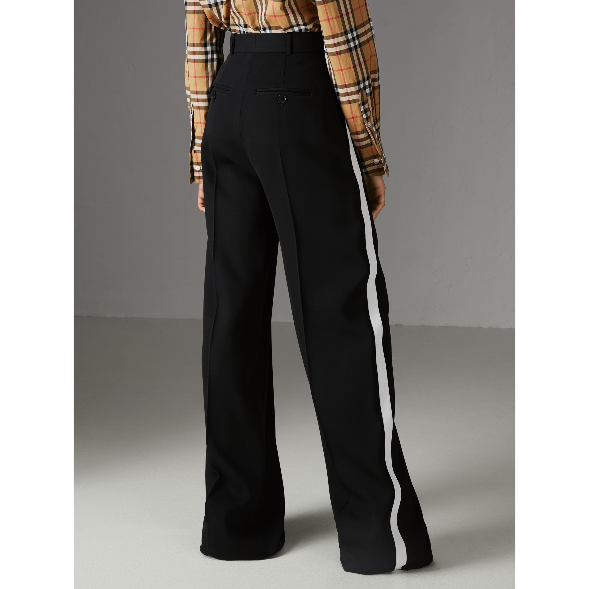 Crepe Wide-leg Trousers in Black - Women | Burberry Singapore - gallery image 2