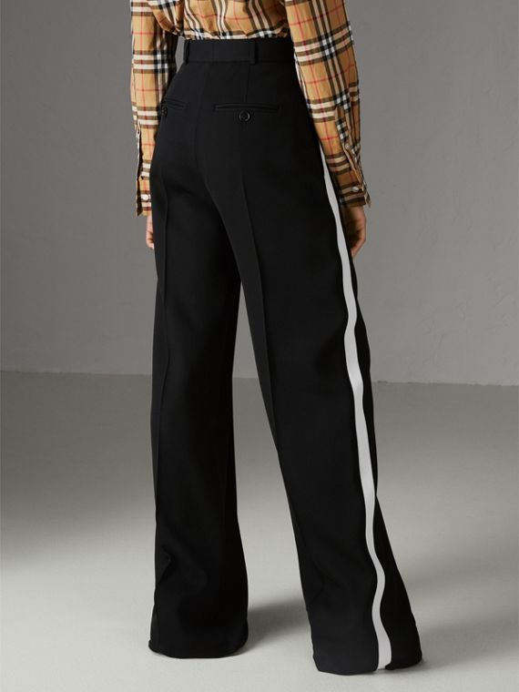 Crepe Wide-leg Trousers in Black - Women | Burberry Singapore - cell image 2