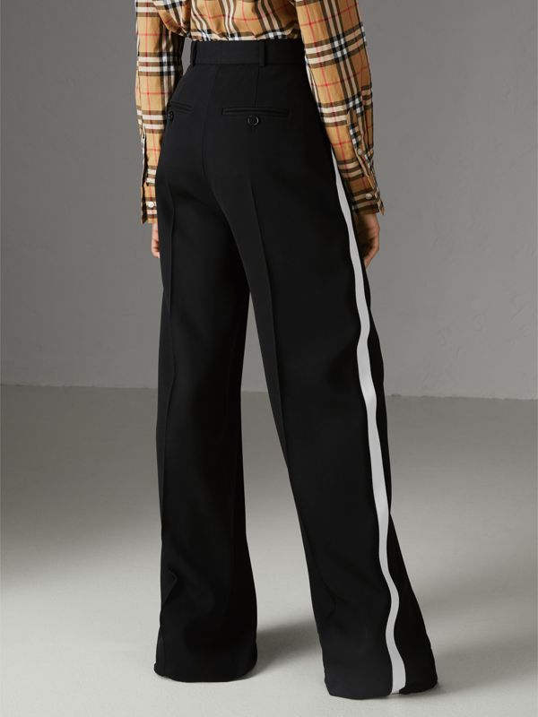 Crepe Wide-leg Trousers in Black - Women | Burberry - cell image 2