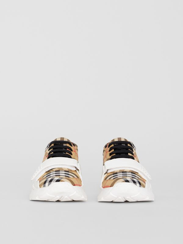 Sneakers en coton Vintage check (Jaune Antique) - Femme | Burberry Canada - cell image 3