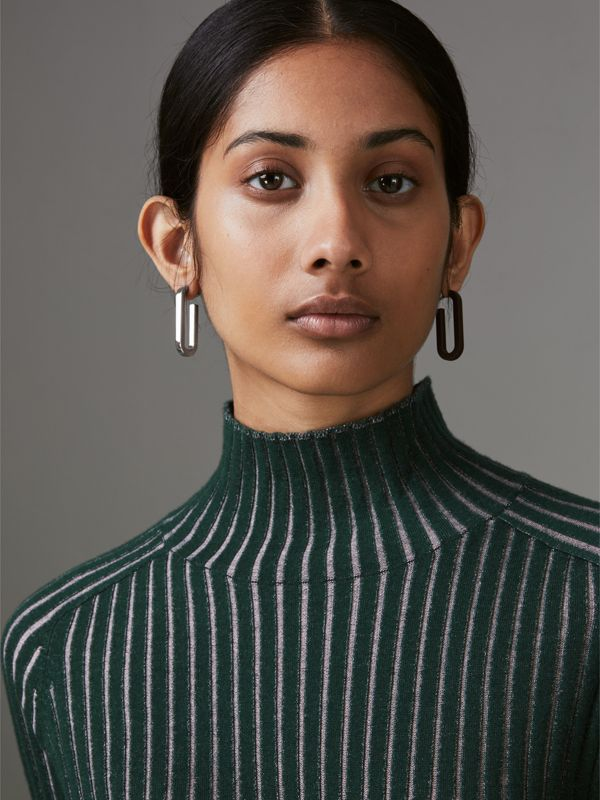 Rubberised and Palladium-plated Link Drop Earrings in Deep Claret - Women | Burberry - cell image 2