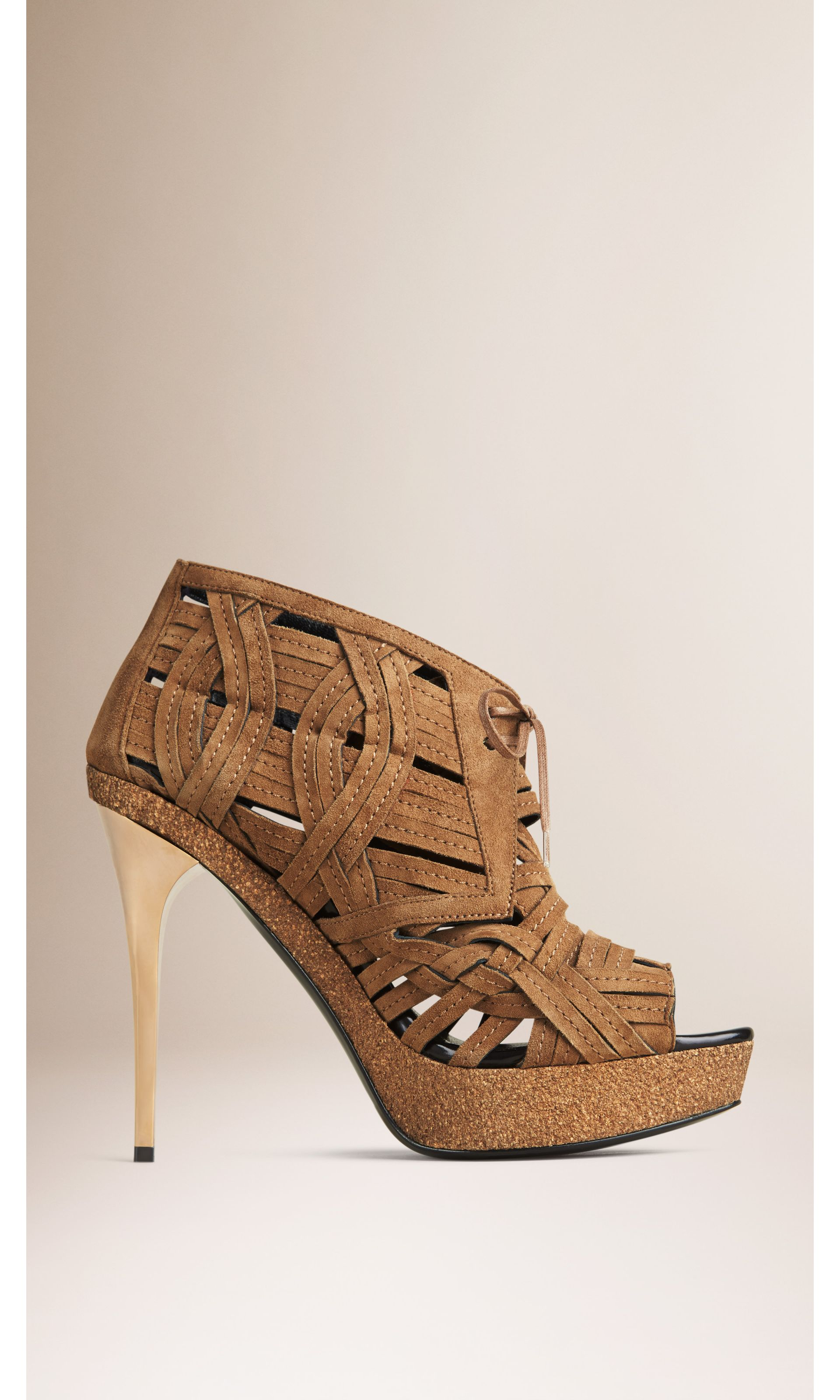 Woven Suede Ankle Boots in Walnut Brown - Women | Burberry United States - gallery image 2