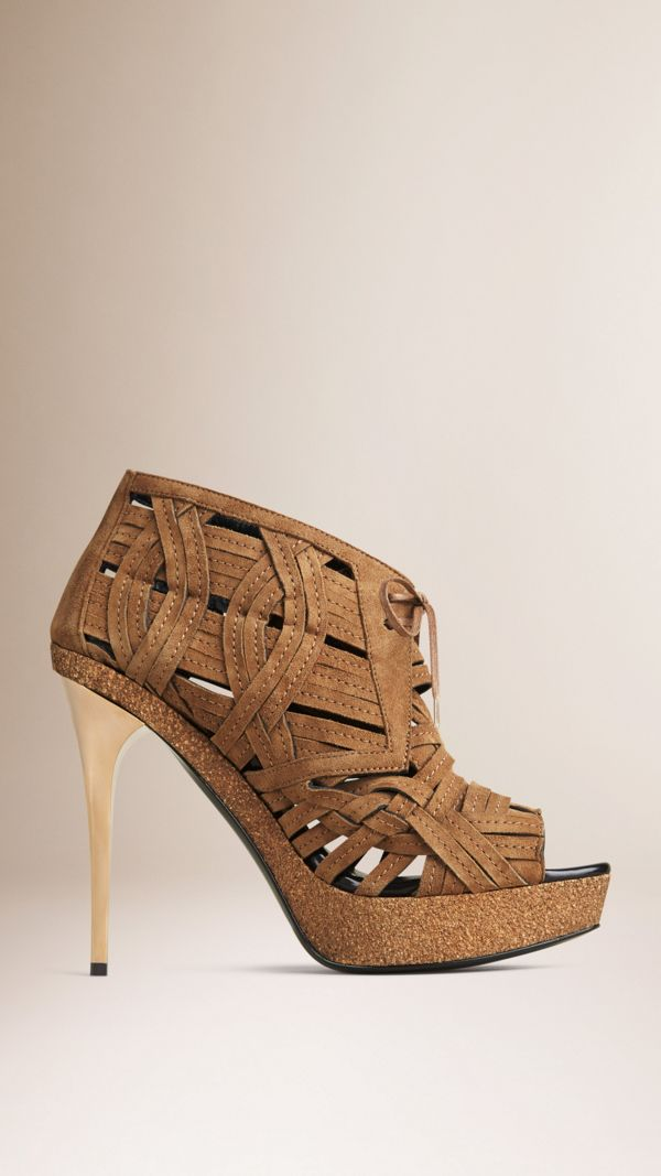 Woven Suede Ankle Boots in Walnut Brown - Women | Burberry United States - cell image 2