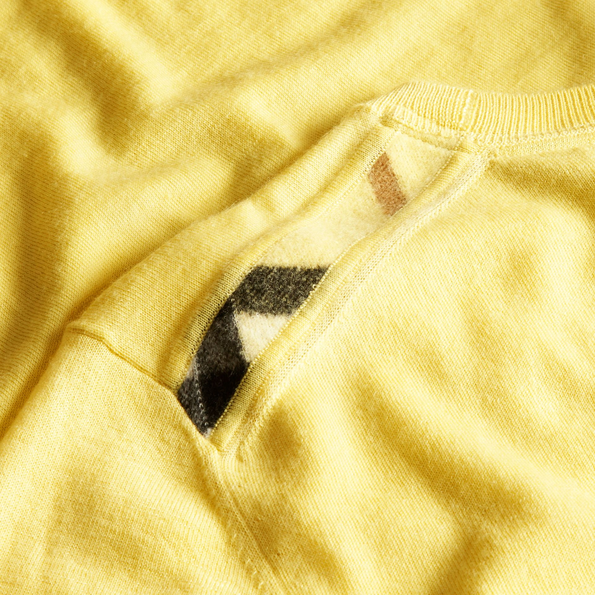 Lightweight Crew Neck Cashmere Sweater with Check Trim Pale Lemon - gallery image 2