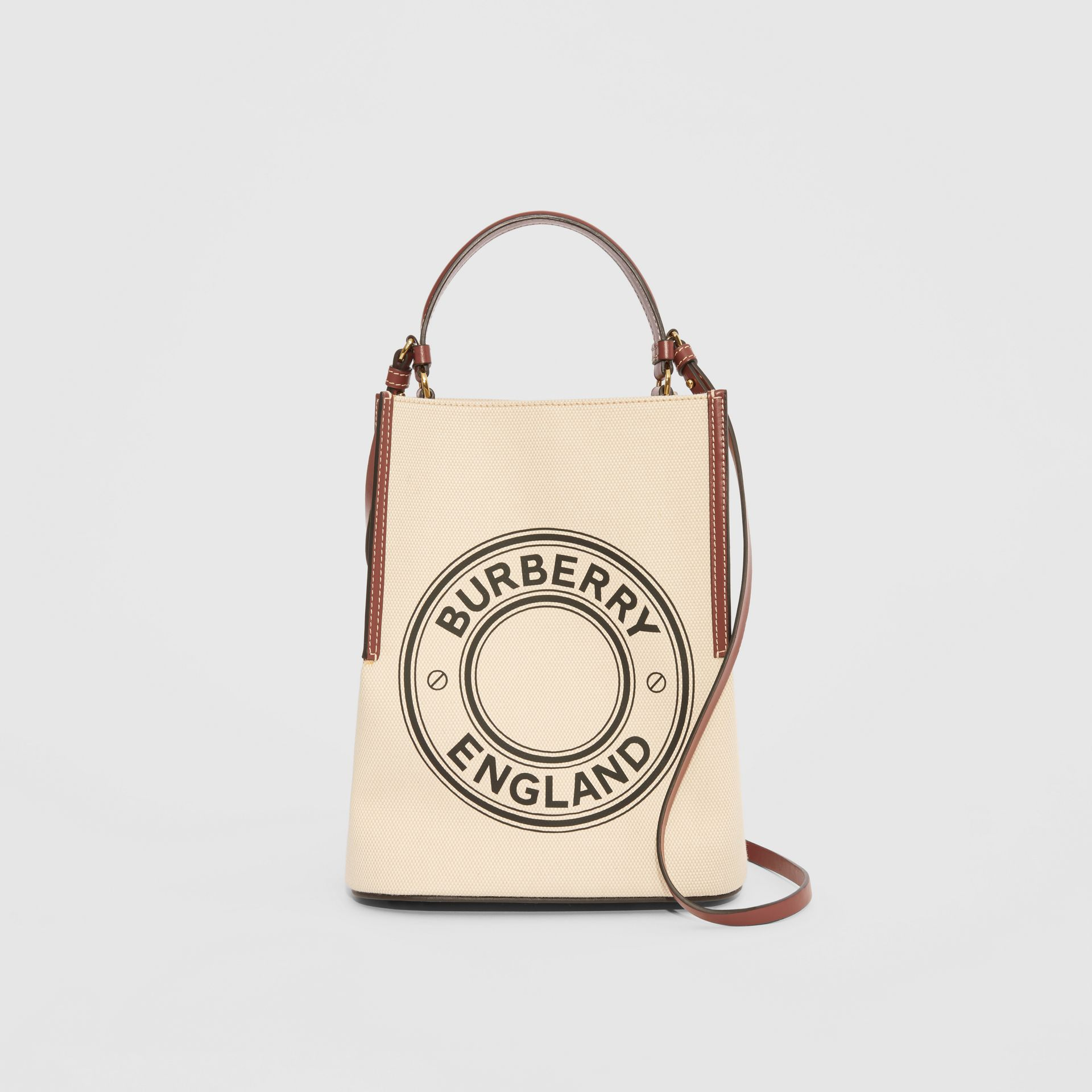 Small Logo Graphic Cotton Canvas Peggy Bucket Bag in Natural - Women | Burberry - gallery image 0