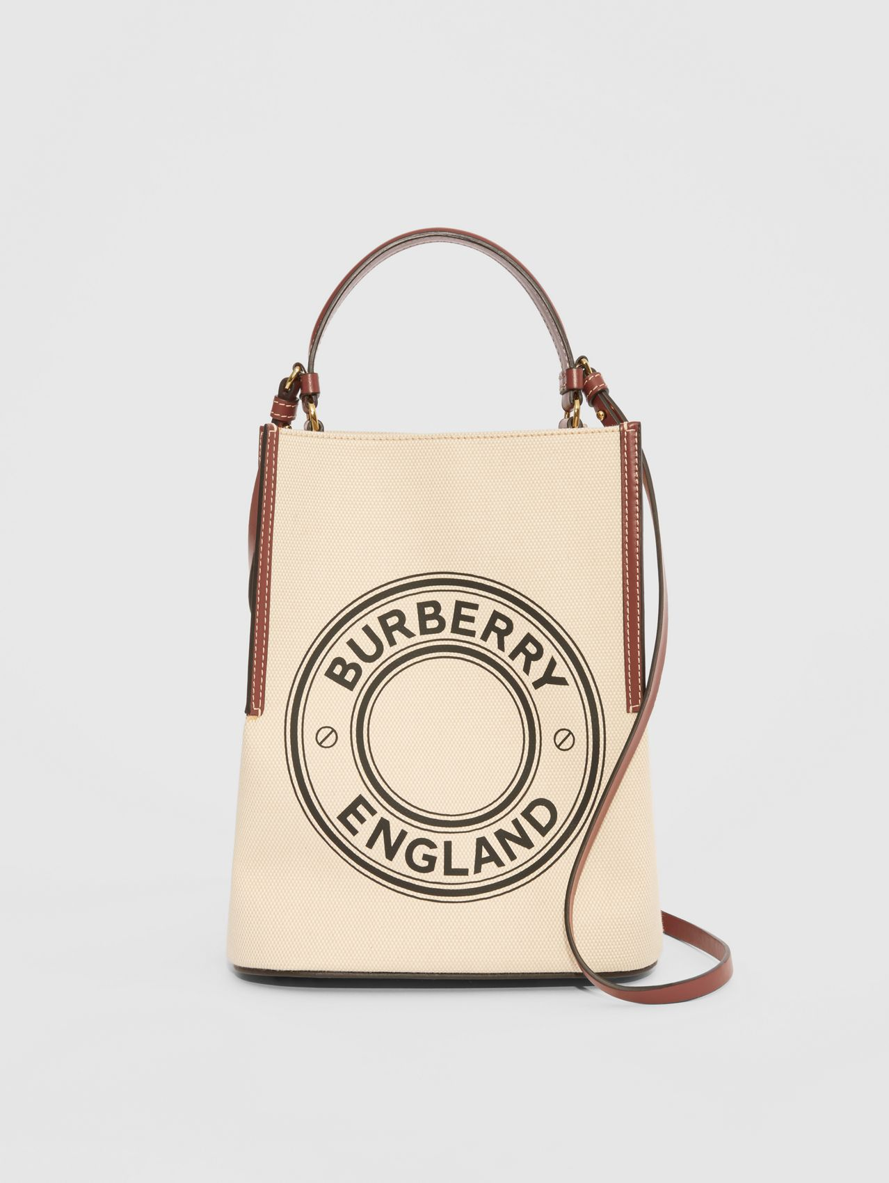 Small Logo Graphic Cotton Canvas Peggy Bucket Bag (Natural)