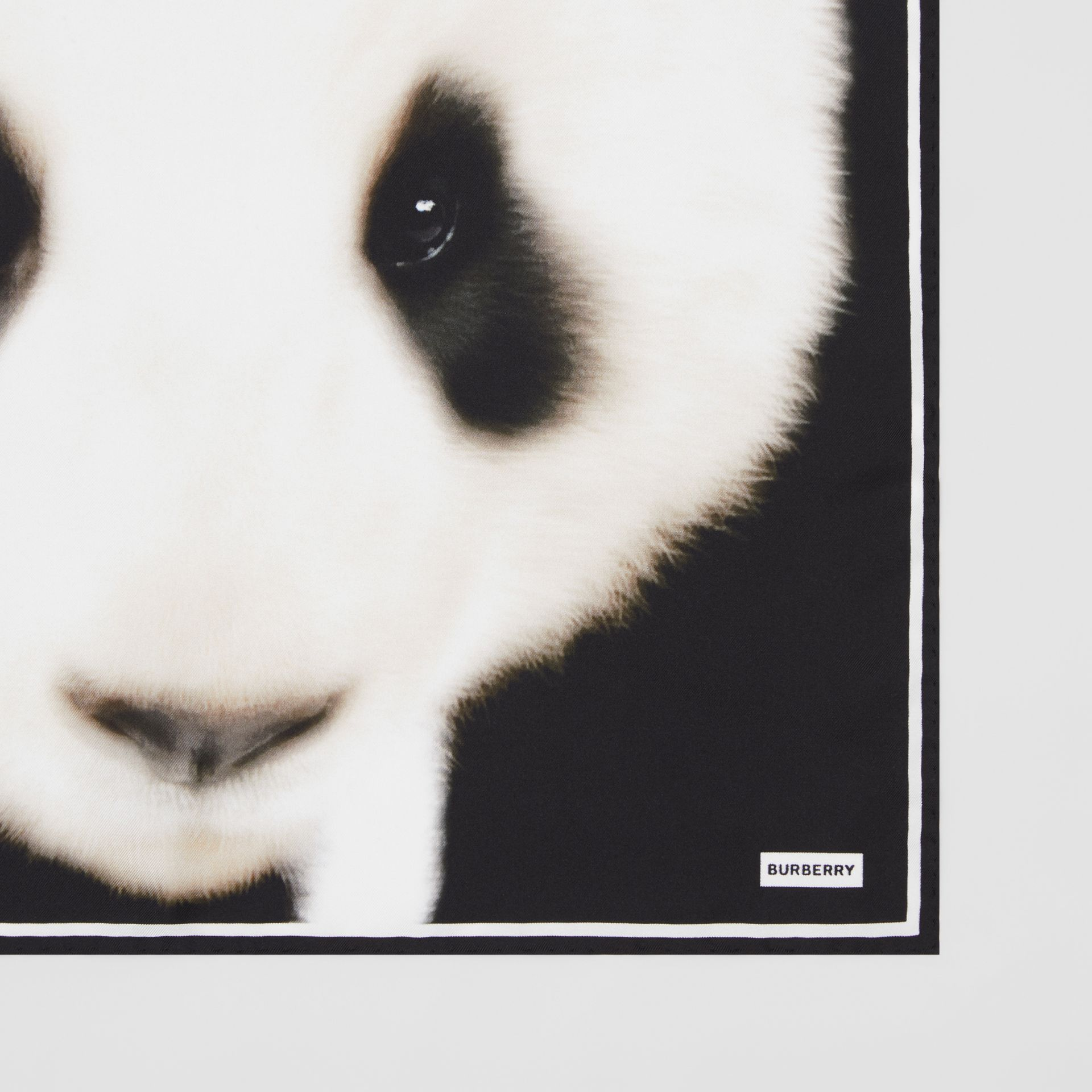 Panda Print Silk Small Square Scarf in White | Burberry United States - gallery image 1