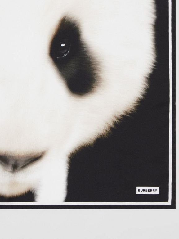 Panda Print Silk Small Square Scarf in White | Burberry United States - cell image 1