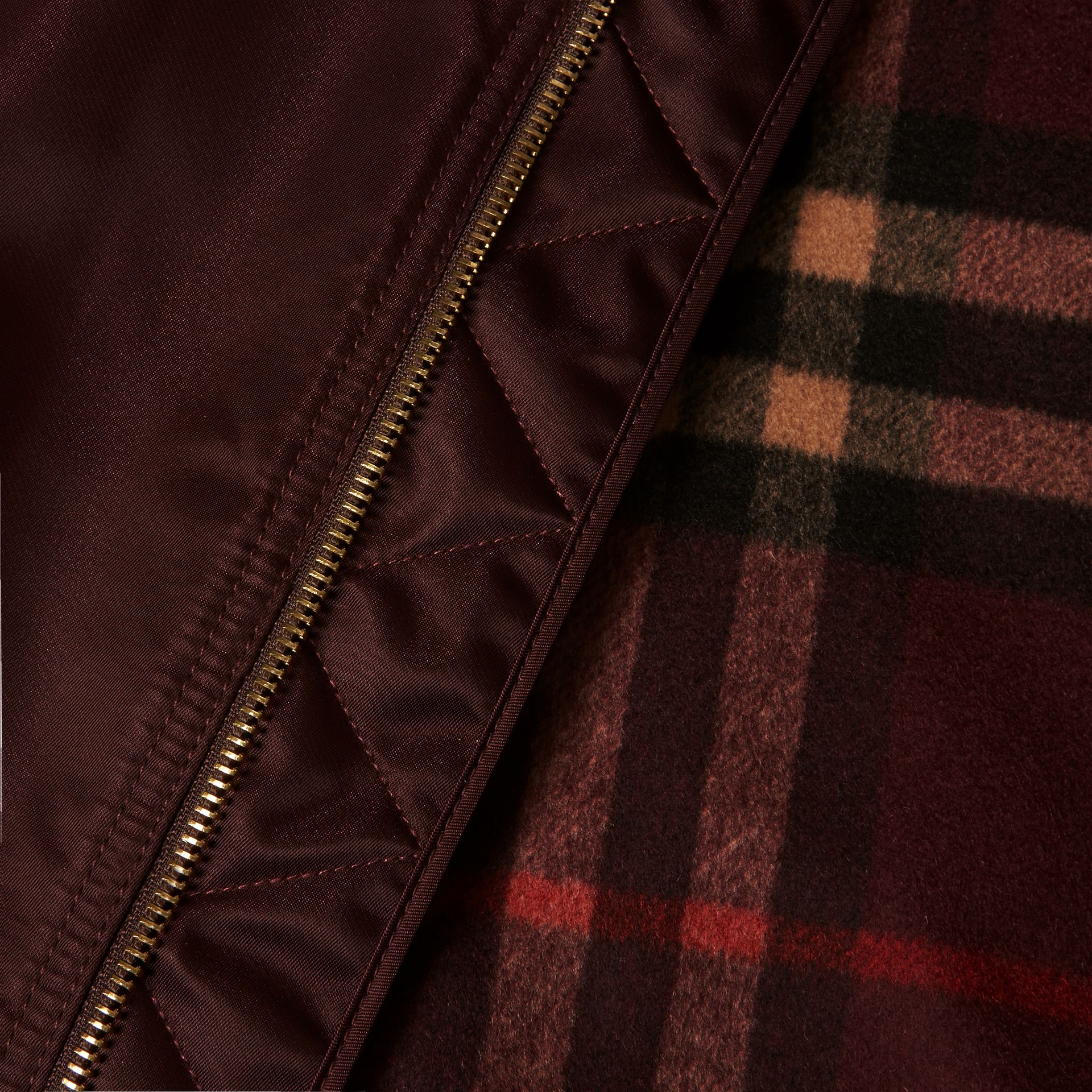 Satin Bomber Jacket with Check Undercollar in Dark Elderberry - gallery image 2