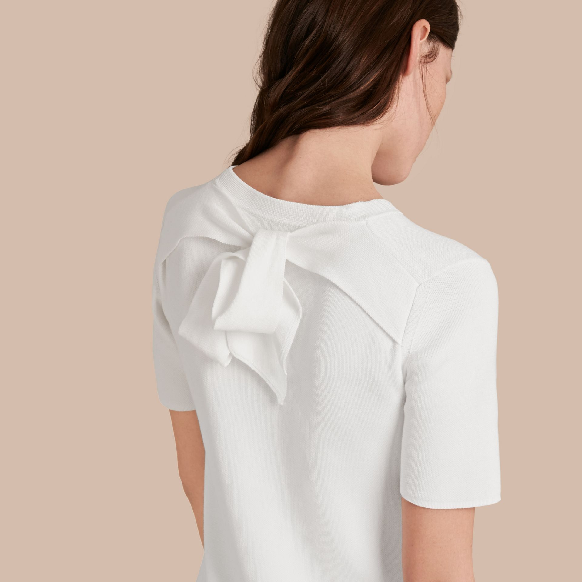 Natural white A-lIne Cotton Piqué Dress with Bow Detail - gallery image 5
