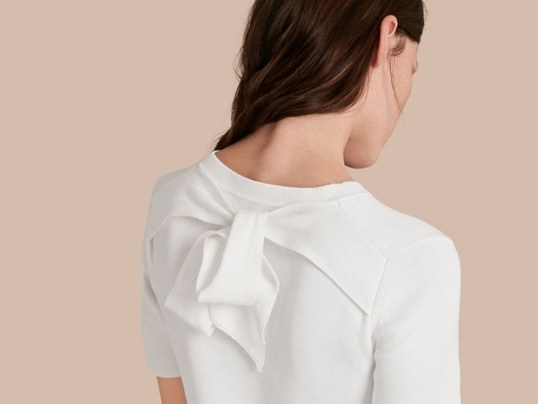 Natural white A-lIne Cotton Piqué Dress with Bow Detail - cell image 4