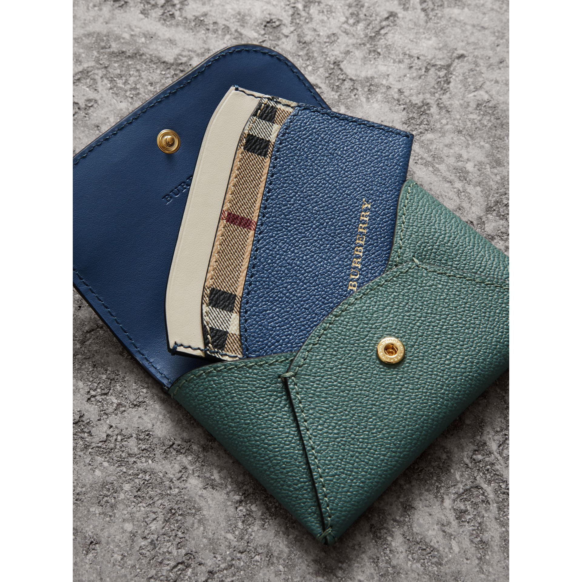 Leather Coin Case with Removable Card Compartment in Eucalyptus Green/multi - Women | Burberry - gallery image 4