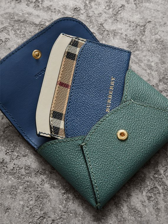 Leather Coin Case with Removable Card Compartment in Eucalyptus Green/multi - Women | Burberry - cell image 3