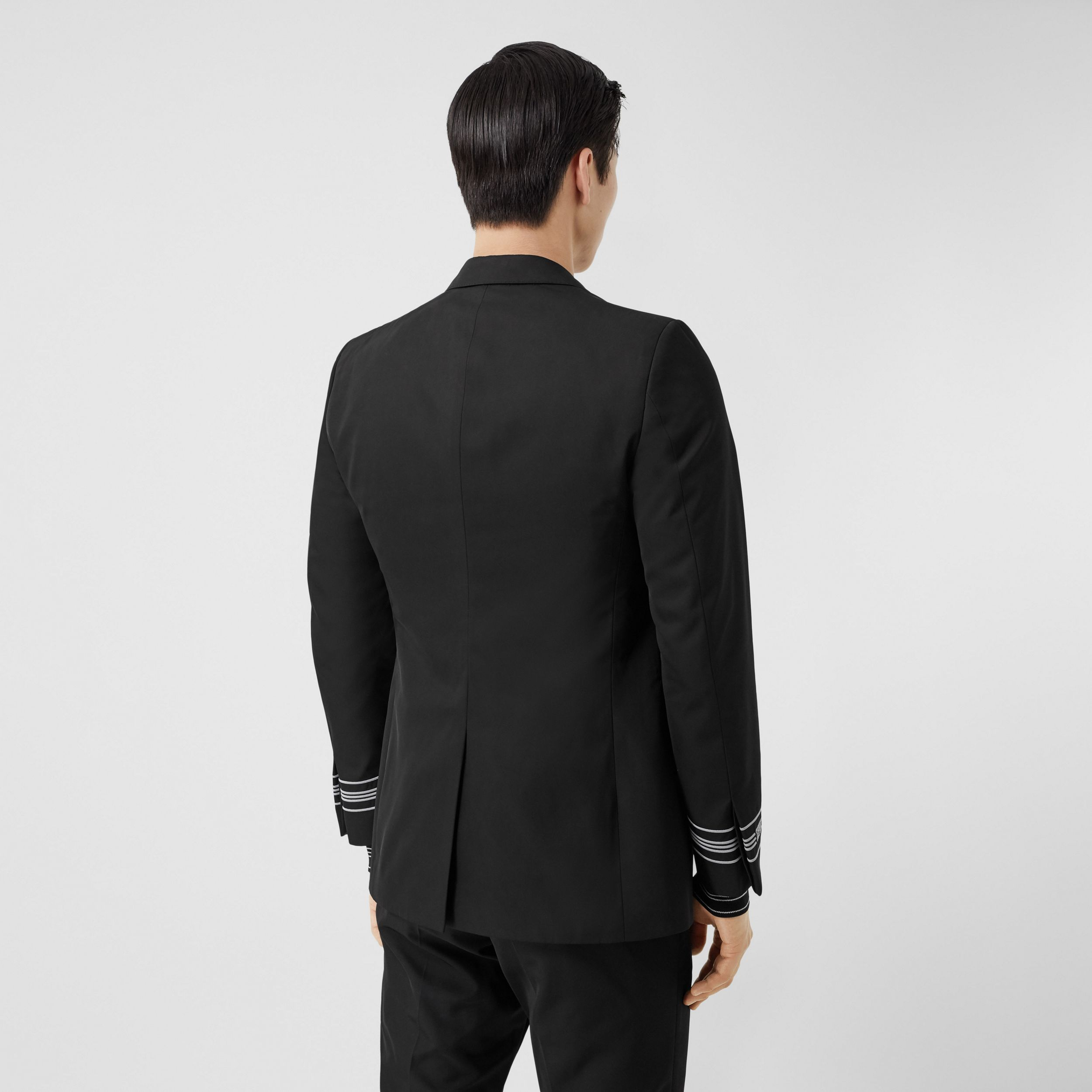 Classic Fit Stripe Detail Technical Twill Tailored Jacket in Black - Men | Burberry United States - 3
