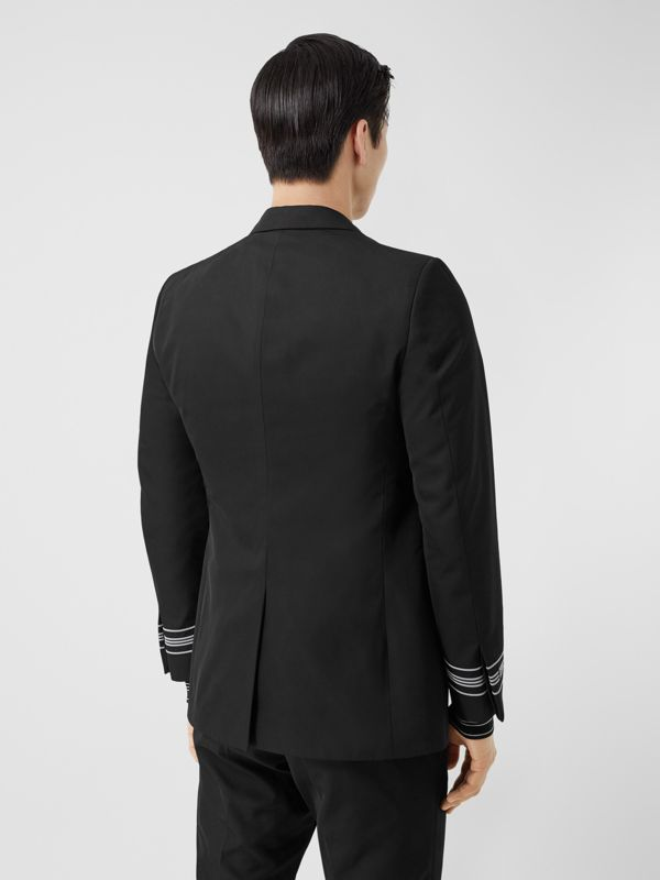 Classic Fit Stripe Detail Technical Twill Tailored Jacket in Black - Men | Burberry United Kingdom - cell image 2