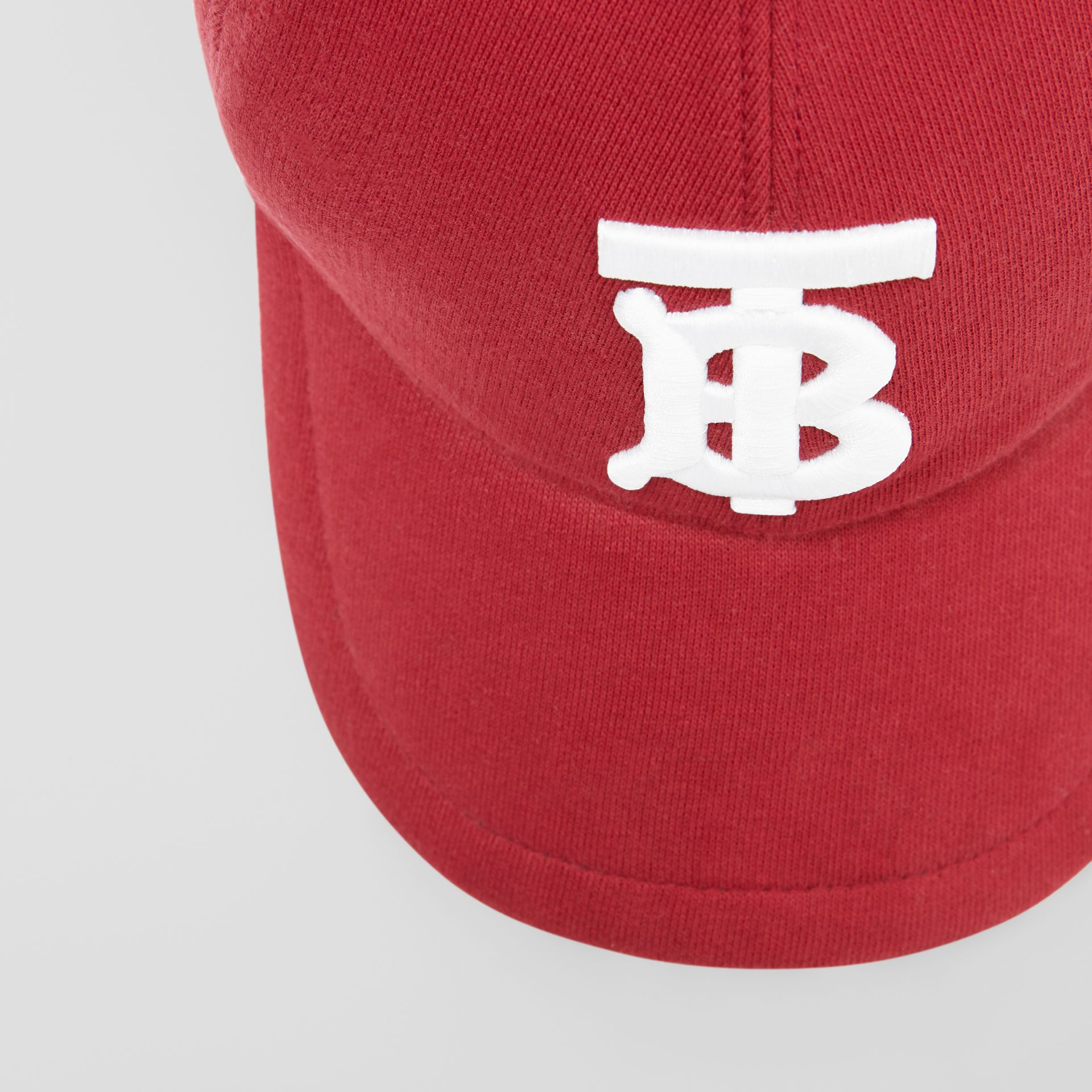 Monogram Motif Jersey Baseball Cap in Dark Carmine | Burberry - gallery image 1