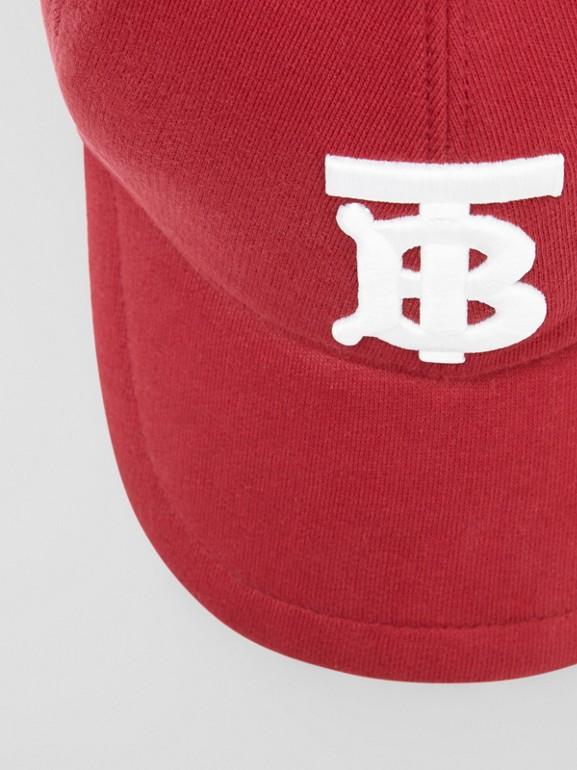 Monogram Motif Jersey Baseball Cap in Dark Carmine | Burberry - cell image 1