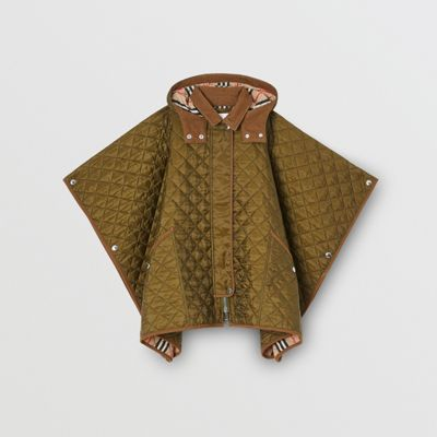Corduroy Trim Diamond Quilted Hooded Poncho by Burberry