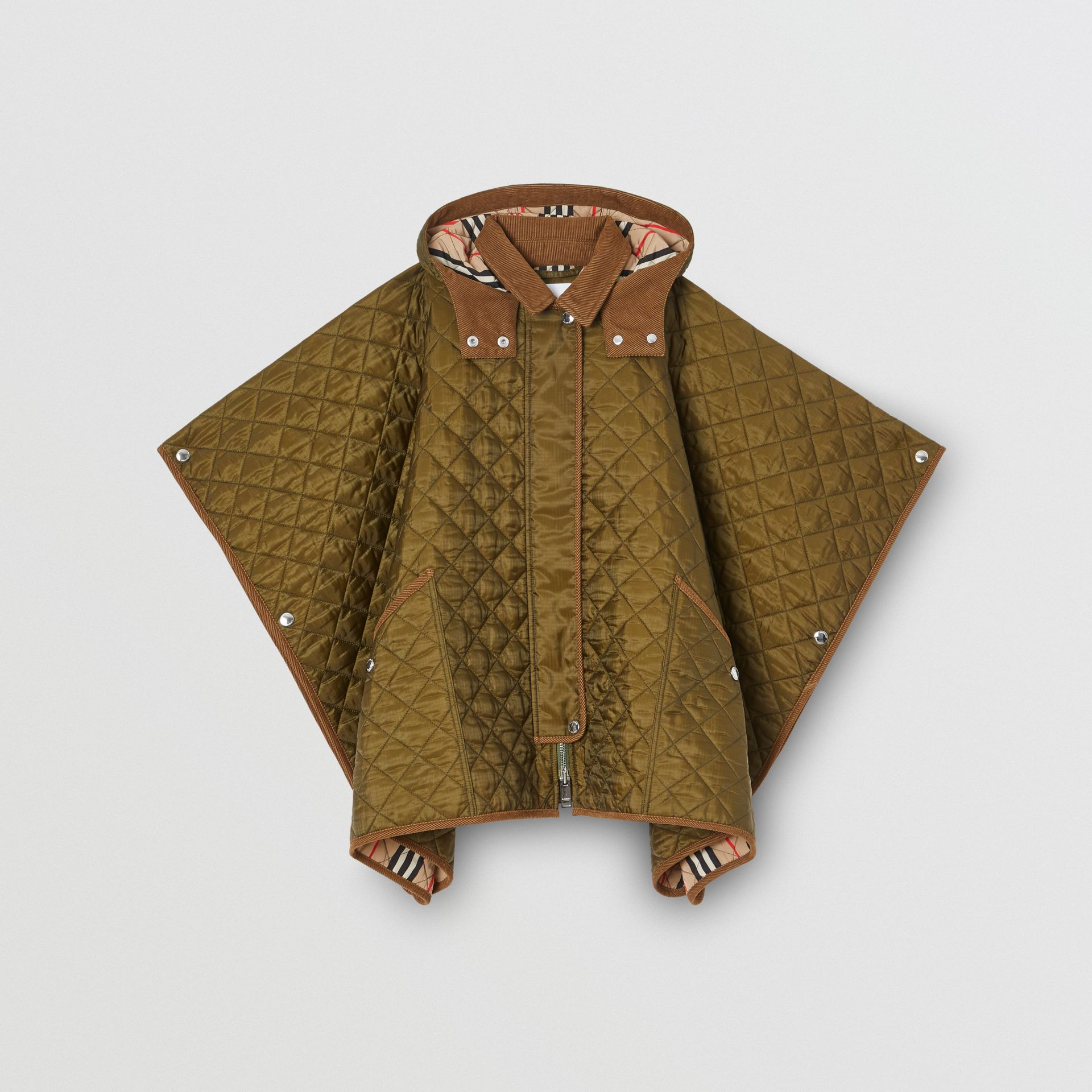 Corduroy Trim Diamond Quilted Hooded Poncho in Military Olive | Burberry - gallery image 0