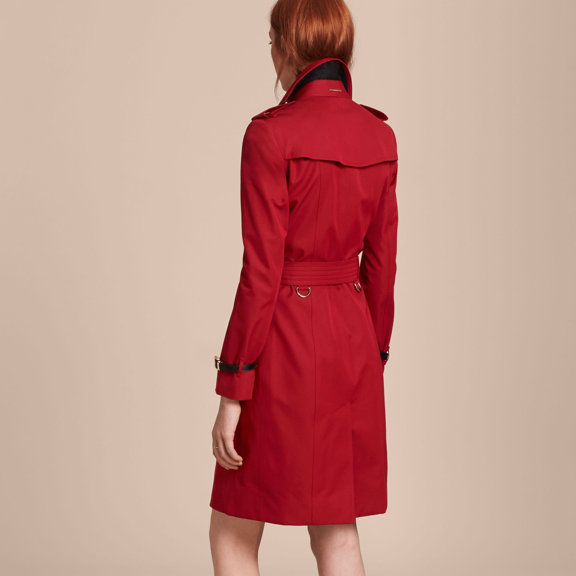 Leather Trim Cotton Gabardine Trench Coat Parade Red - gallery image 3