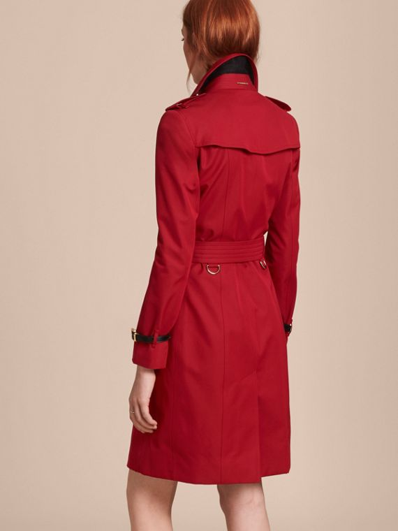 Leather Trim Cotton Gabardine Trench Coat in Parade Red - cell image 2
