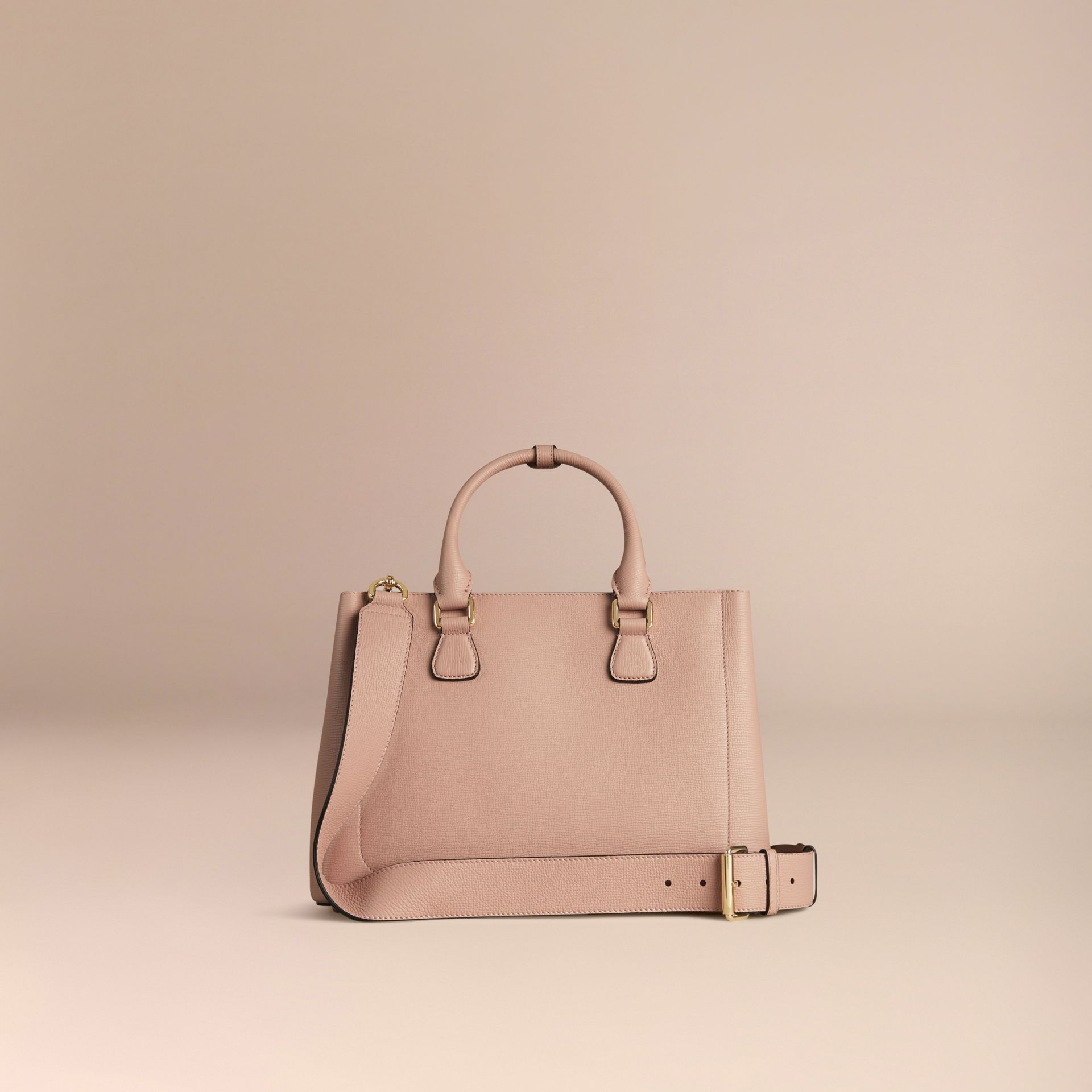 Pale orchid The Medium Saddle Bag in Grainy Bonded Leather Pale Orchid - gallery image 4