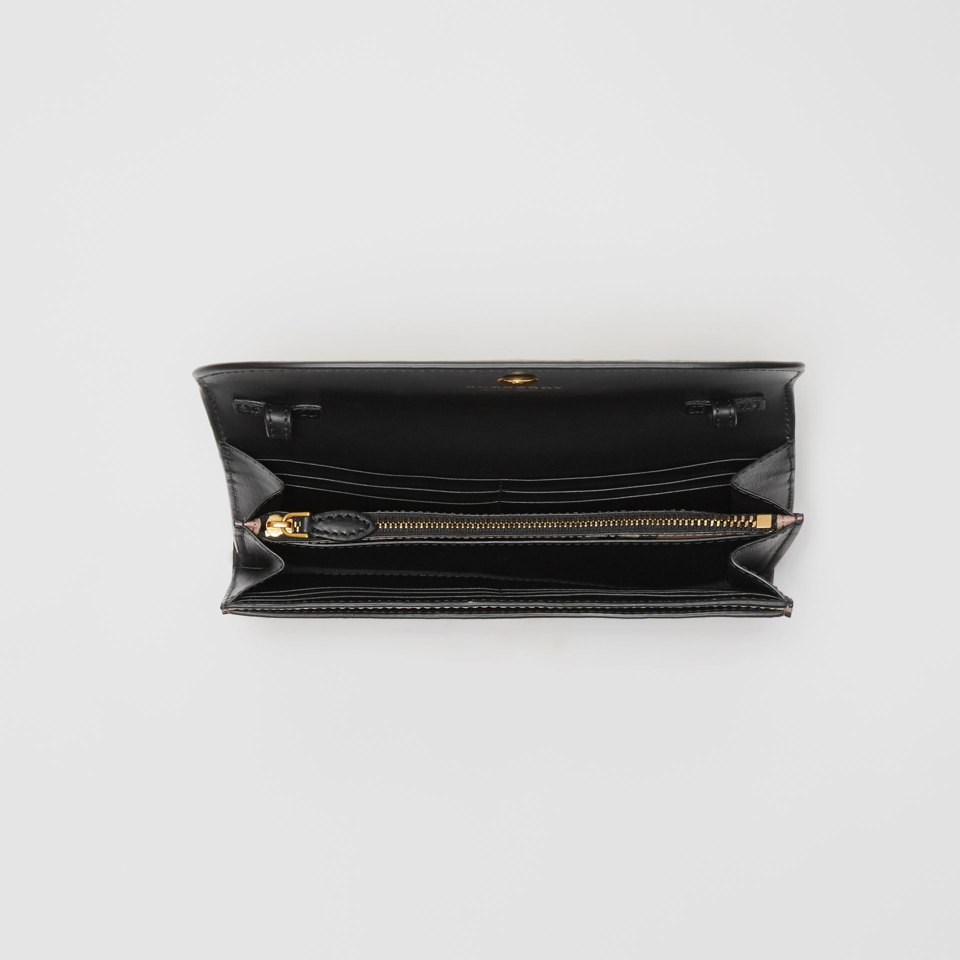 Detachable Strap Vintage Check Leather Wallet in Black - Women | Burberry - gallery image 4