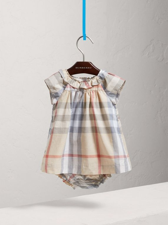 Check Cotton Poplin Dress with Bloomers in Pale Stone