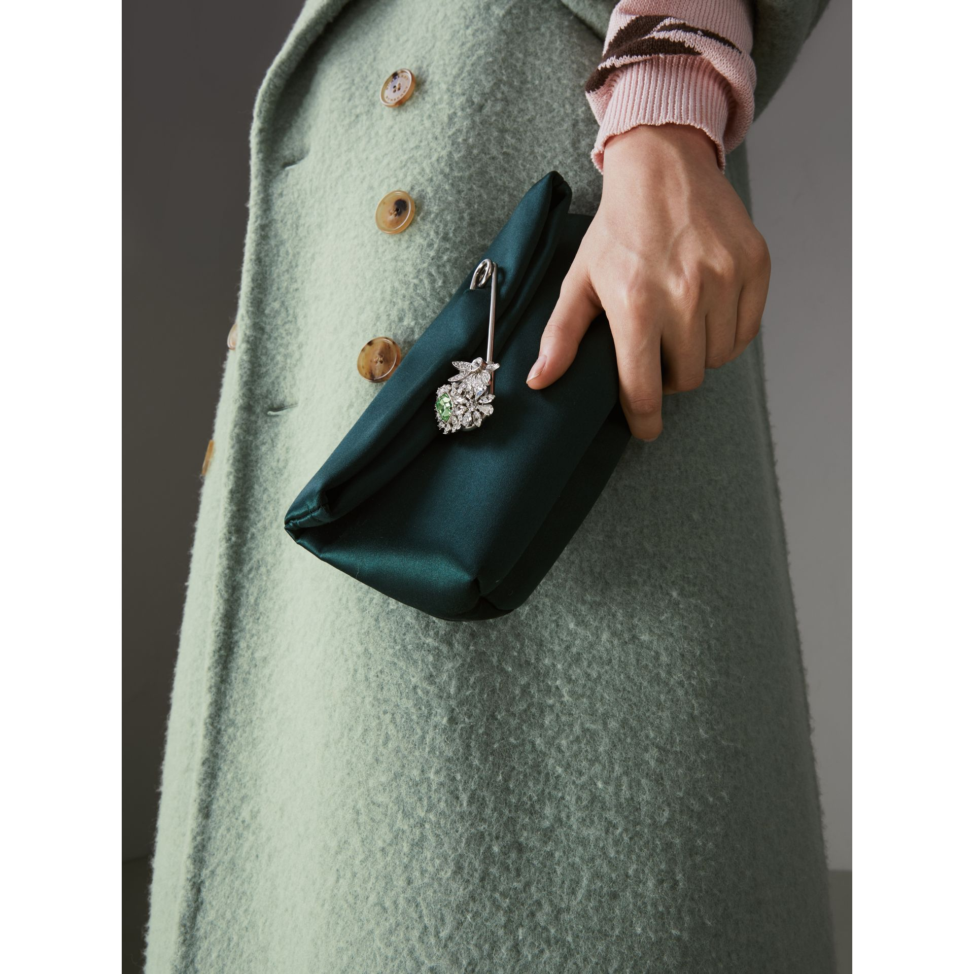 The Small Pin Clutch in Satin in Dark Forest Green - Women | Burberry United Kingdom - gallery image 3