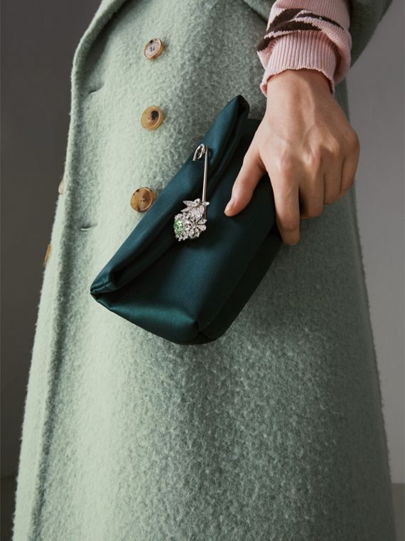 The Small Pin Clutch in Satin in Dark Forest Green - Women | Burberry - cell image 3