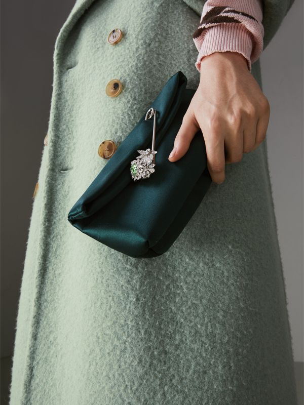 The Small Pin Clutch in Satin in Dark Forest Green - Women | Burberry Australia - cell image 3