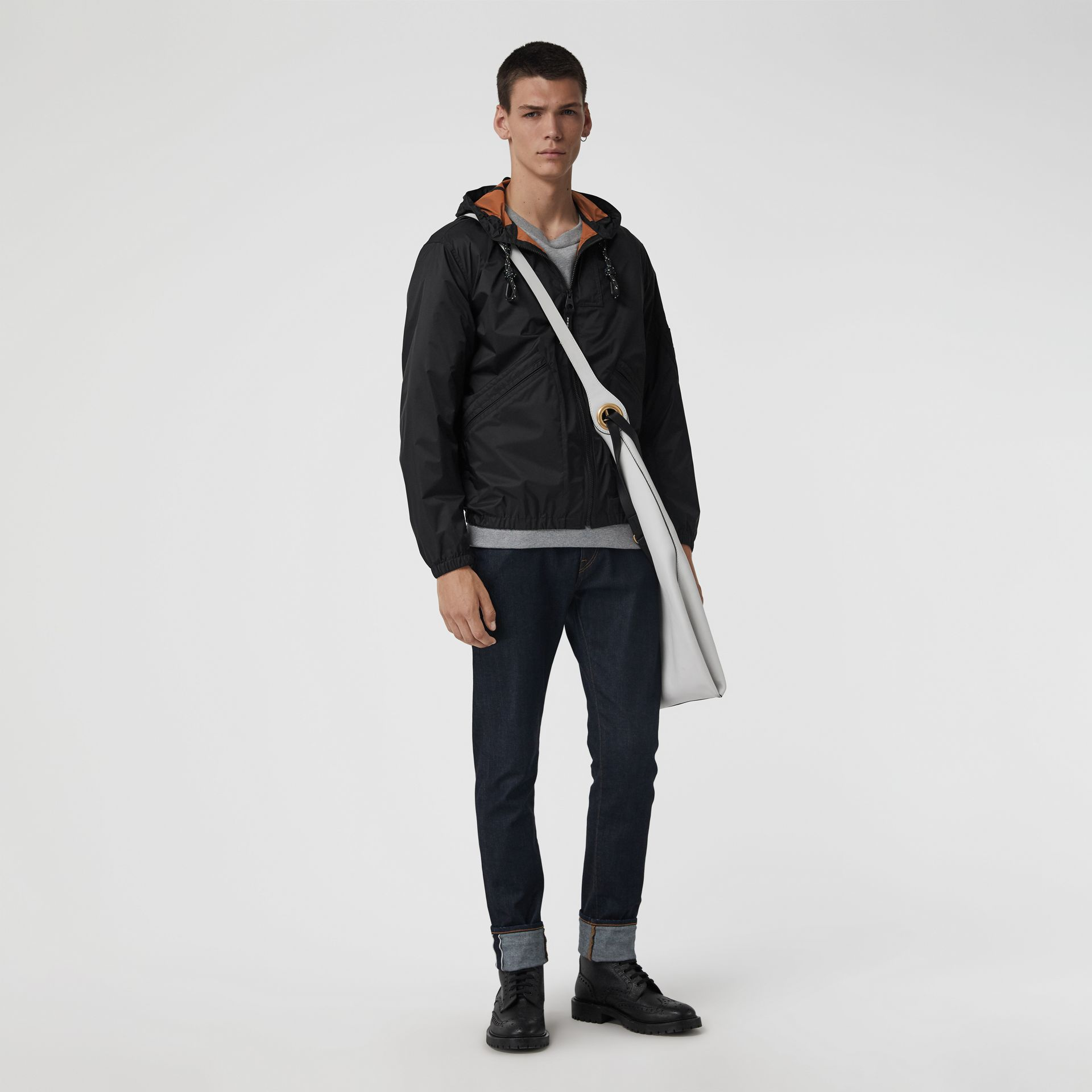 Flyweight Nylon Hooded Bomber Jacket in Black - Men | Burberry - gallery image 0