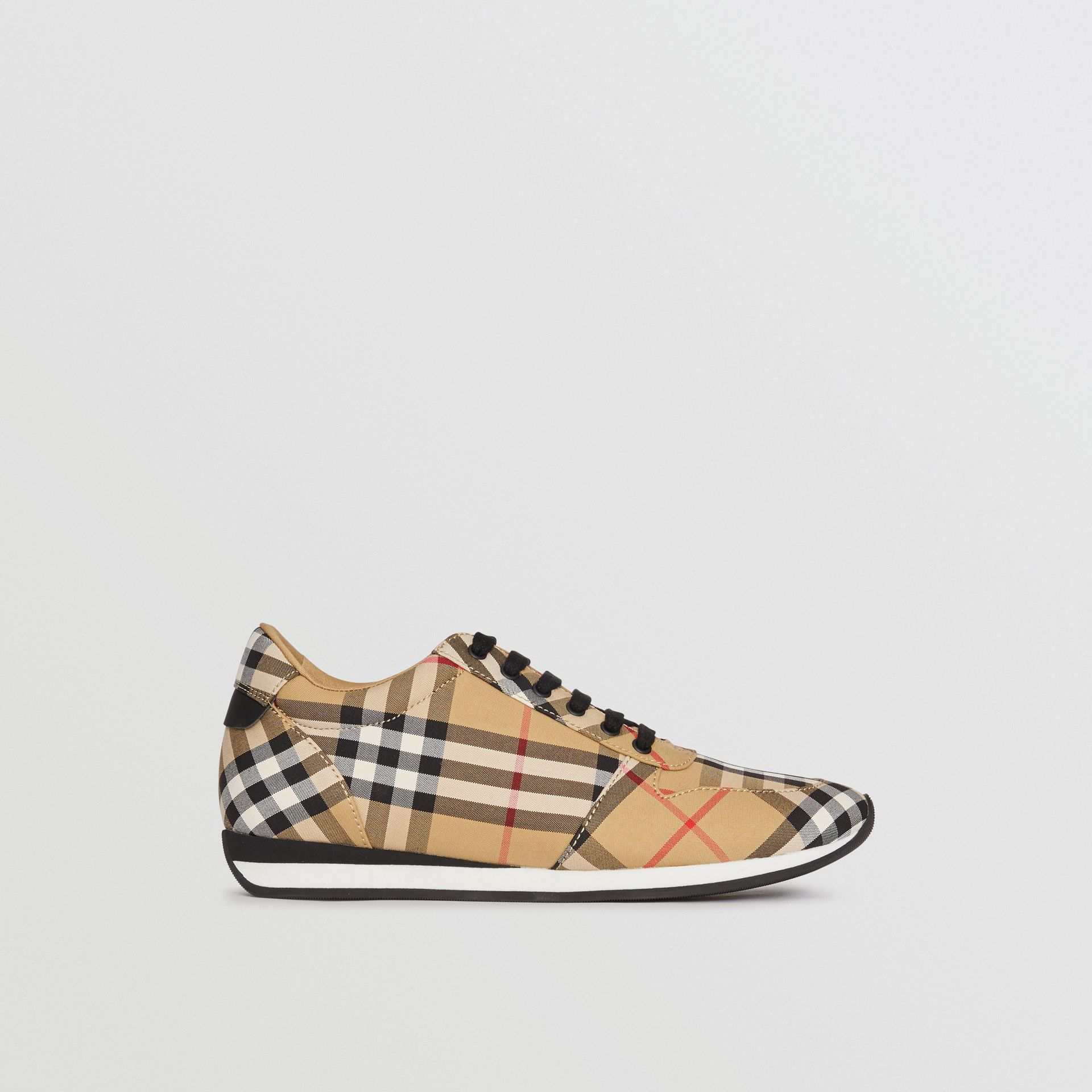 Vintage Check Cotton Sneakers in Antique Yellow - Women | Burberry - gallery image 5