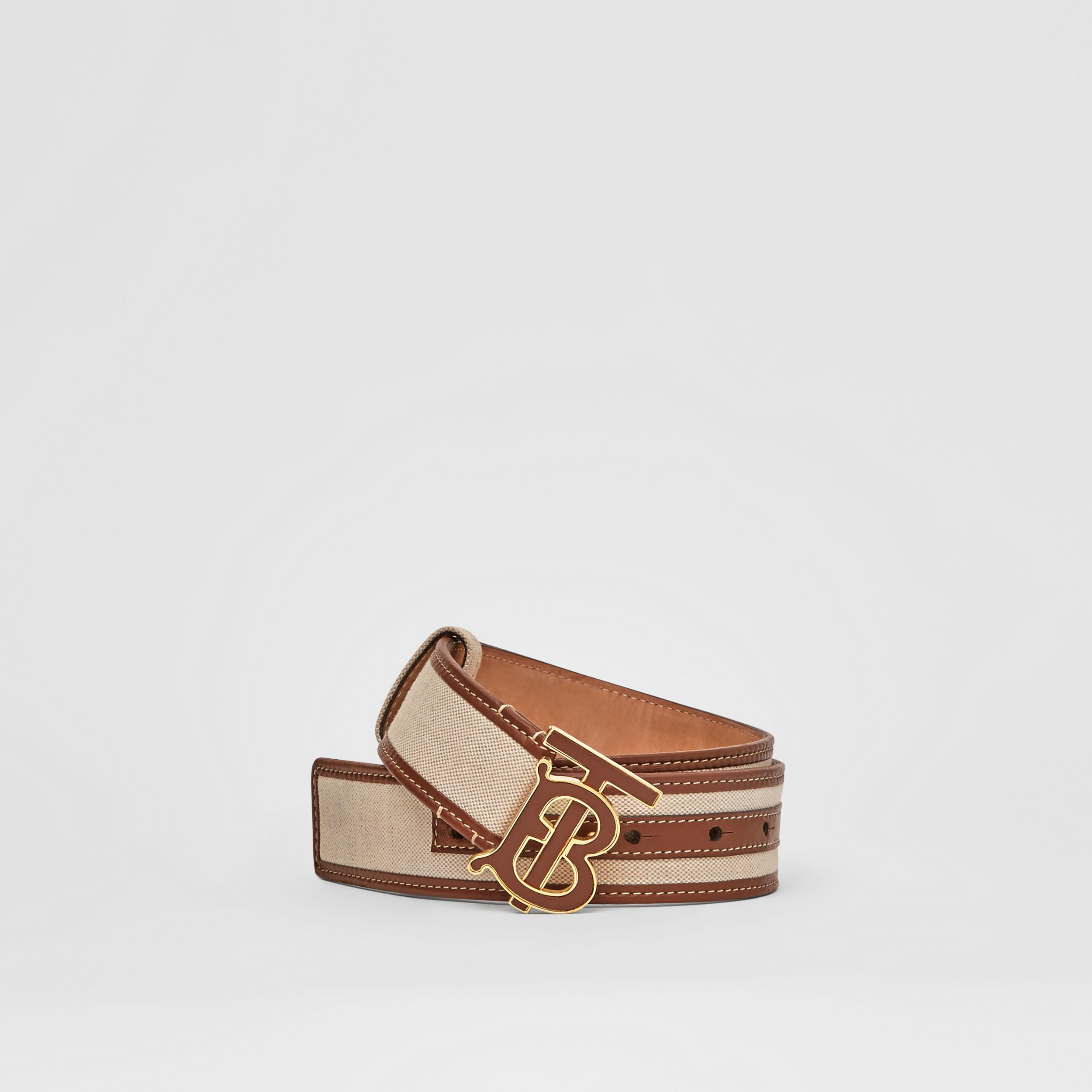 Monogram Motif Canvas and Leather Belt in Natural - Women | Burberry - 1