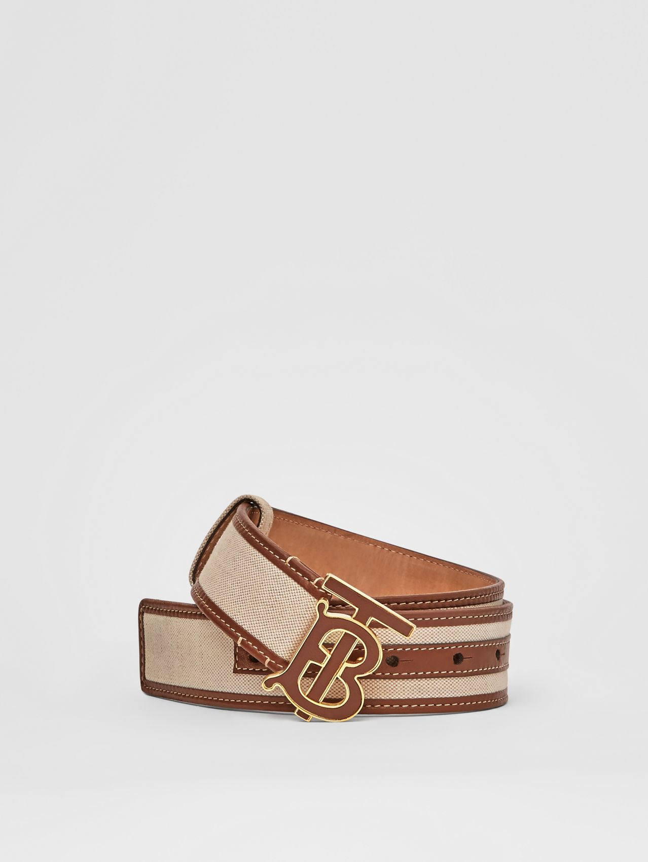 Monogram Motif Canvas and Leather Belt in Natural