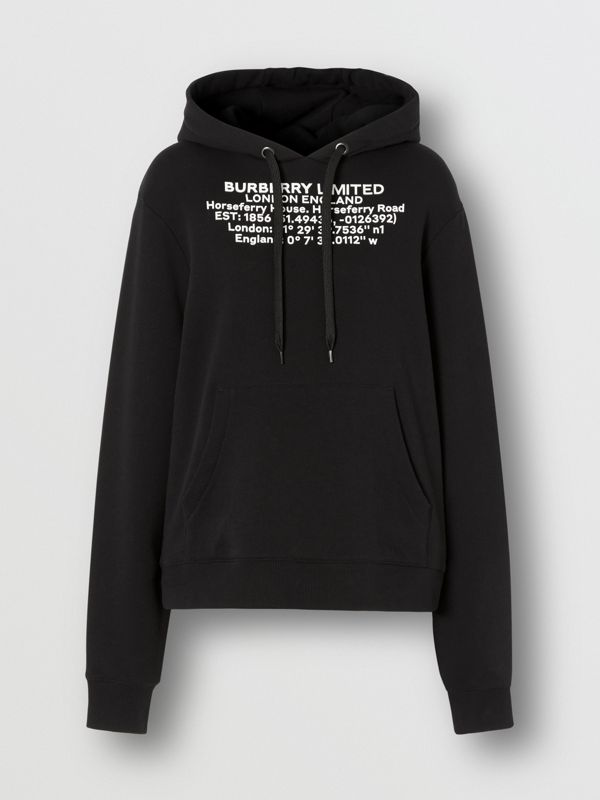 Location Print Cotton Oversized Hoodie in Black - Women | Burberry - cell image 3